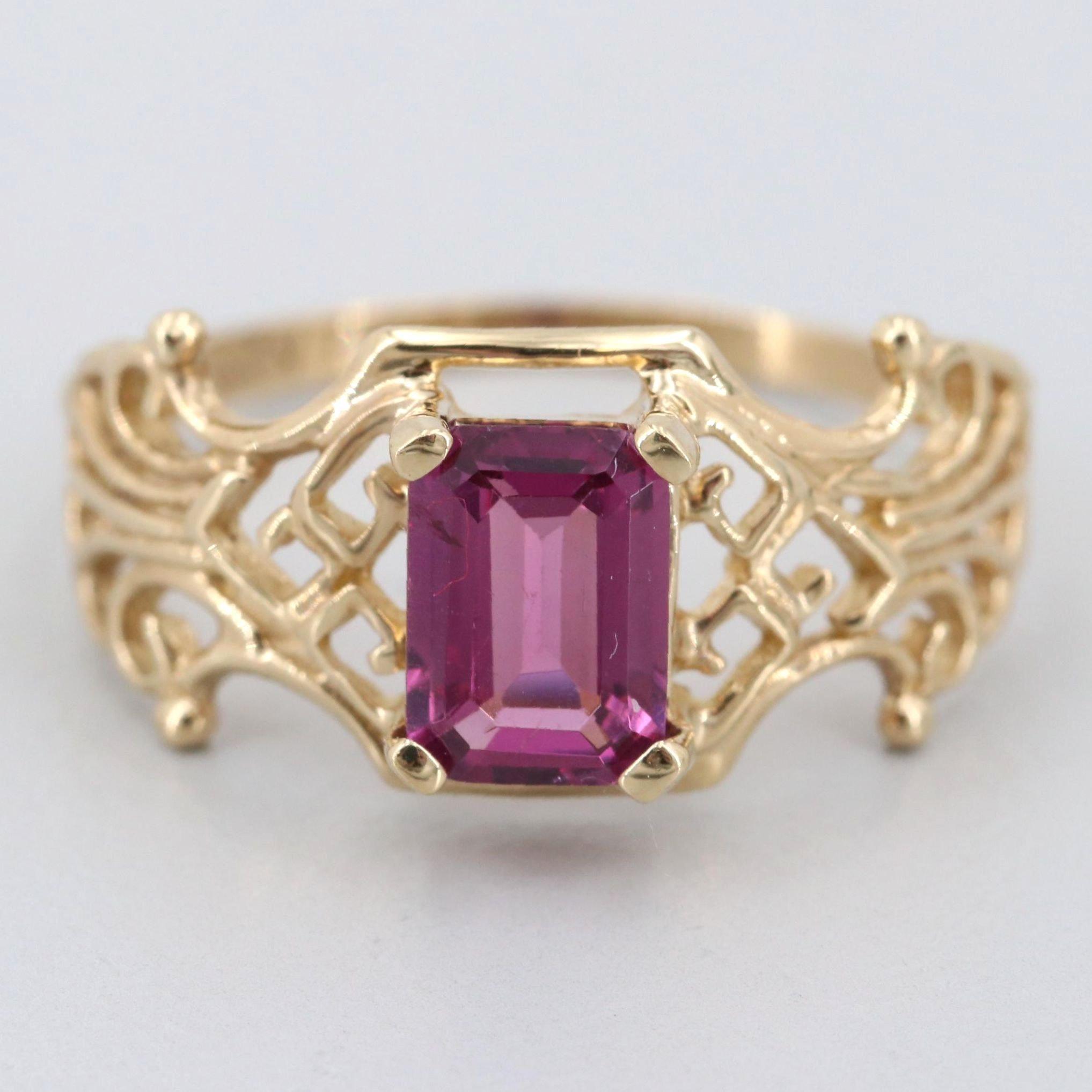 10K Yellow Gold Rhodolite Garnet Ring