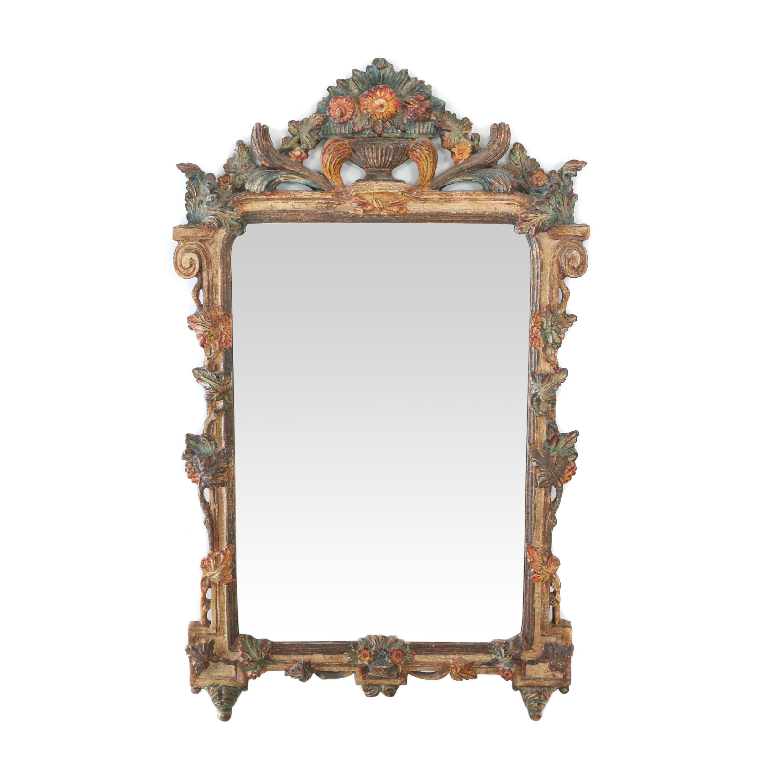 Italian Carved and Polychromed Mirror, 20th Century