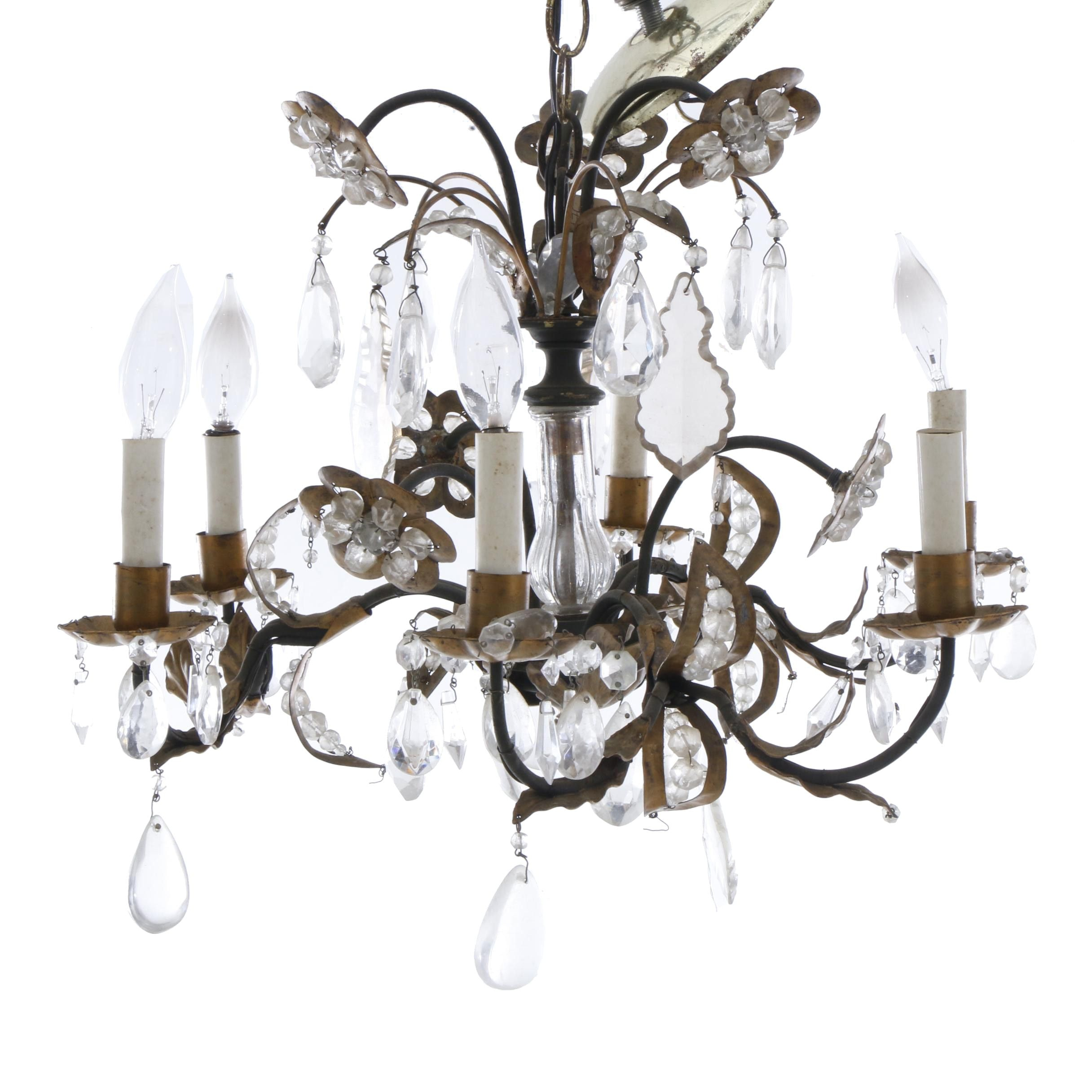 Six-Arm Chandelier with Bead Accented Florets and Drop Prisms