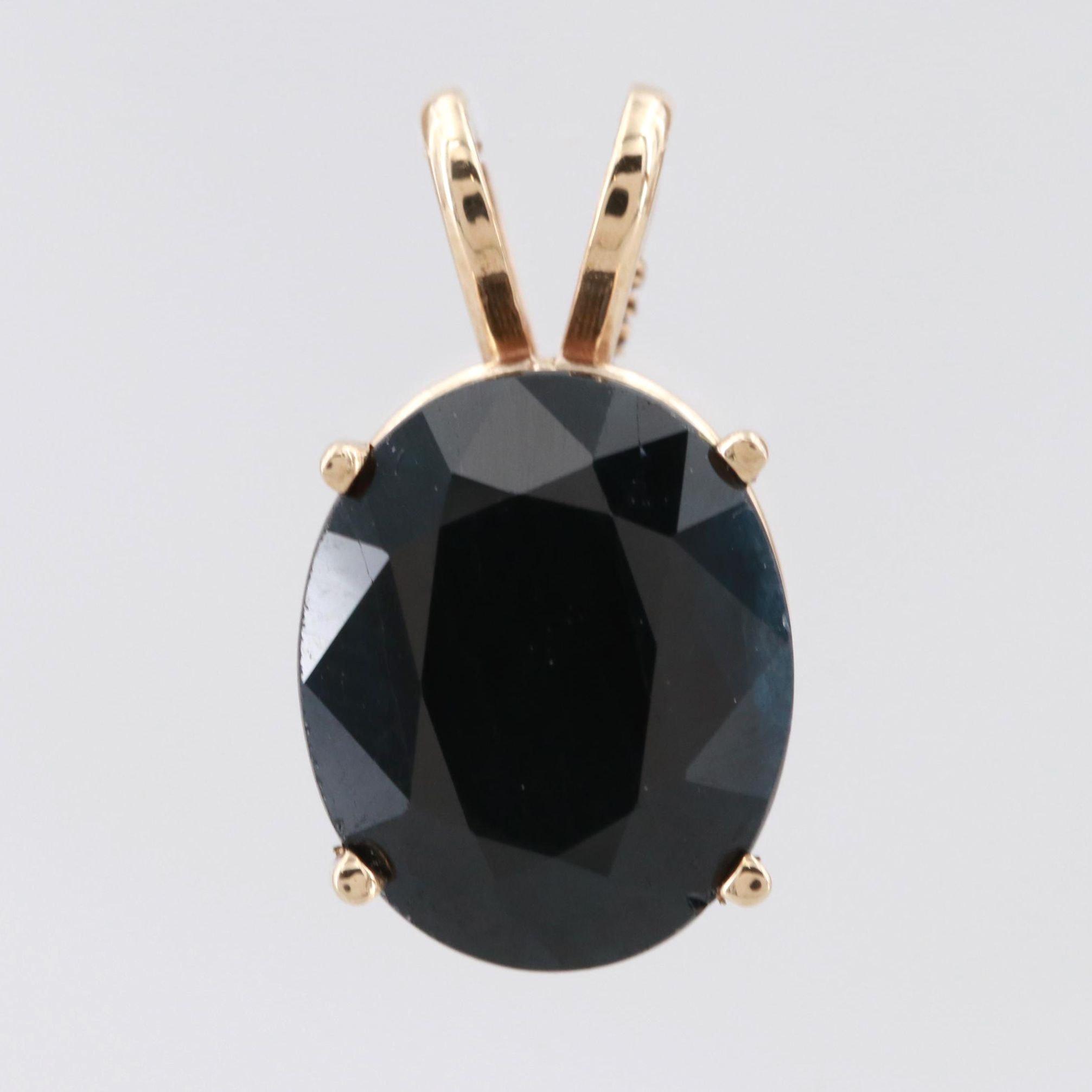 14K Yellow Gold Blue Sapphire Pendant