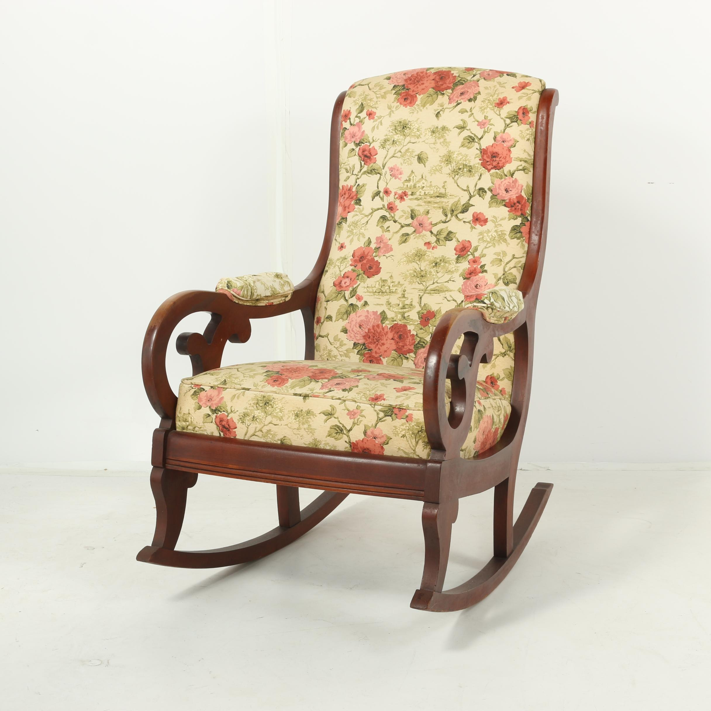 Floral Upholstered Cherry Finished Wooden Rocking Chair, 20th Century