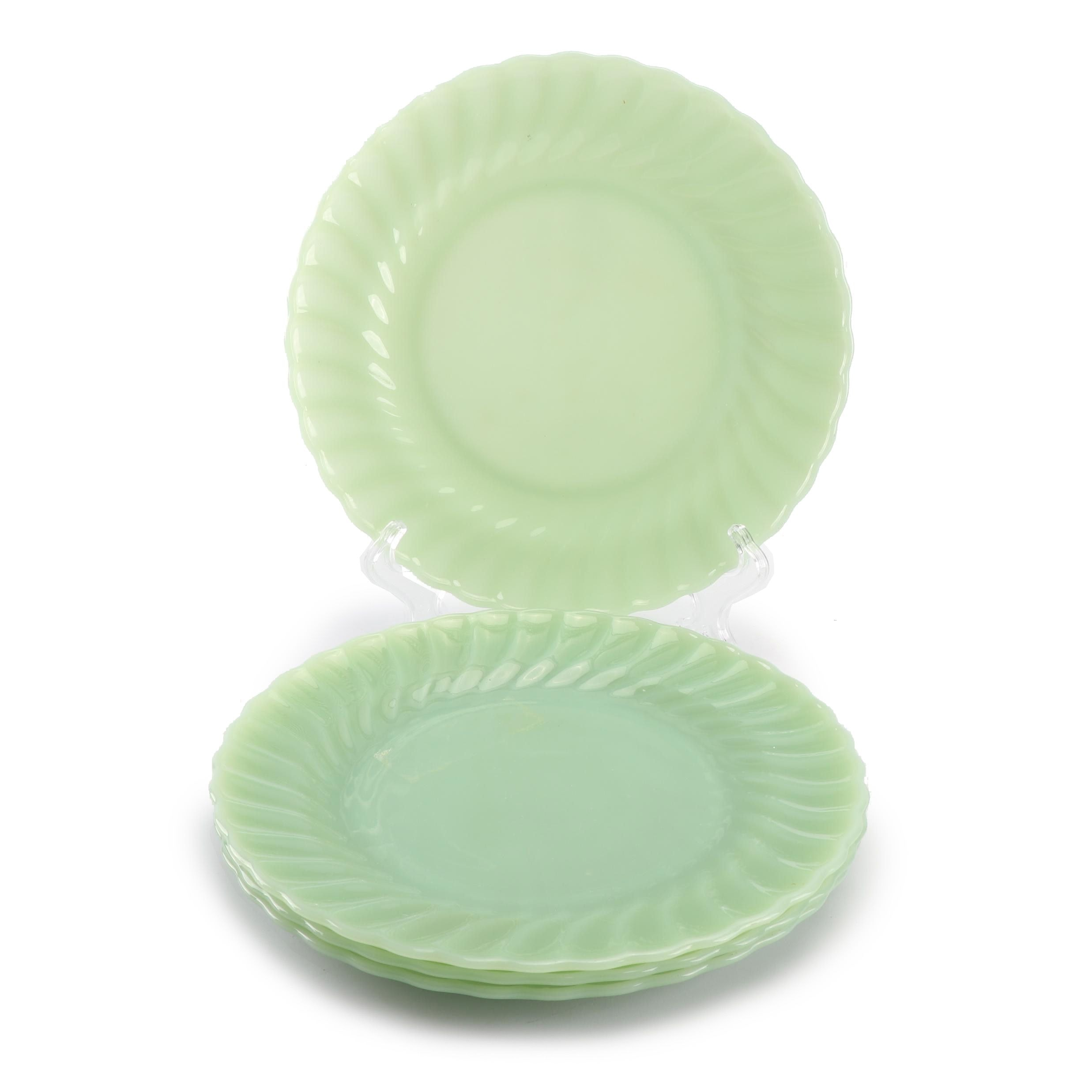 "Anchor Hocking Fire-King ""Swirl Jade Ite Shell"" Glass Dinner Plates, Mid-Century"