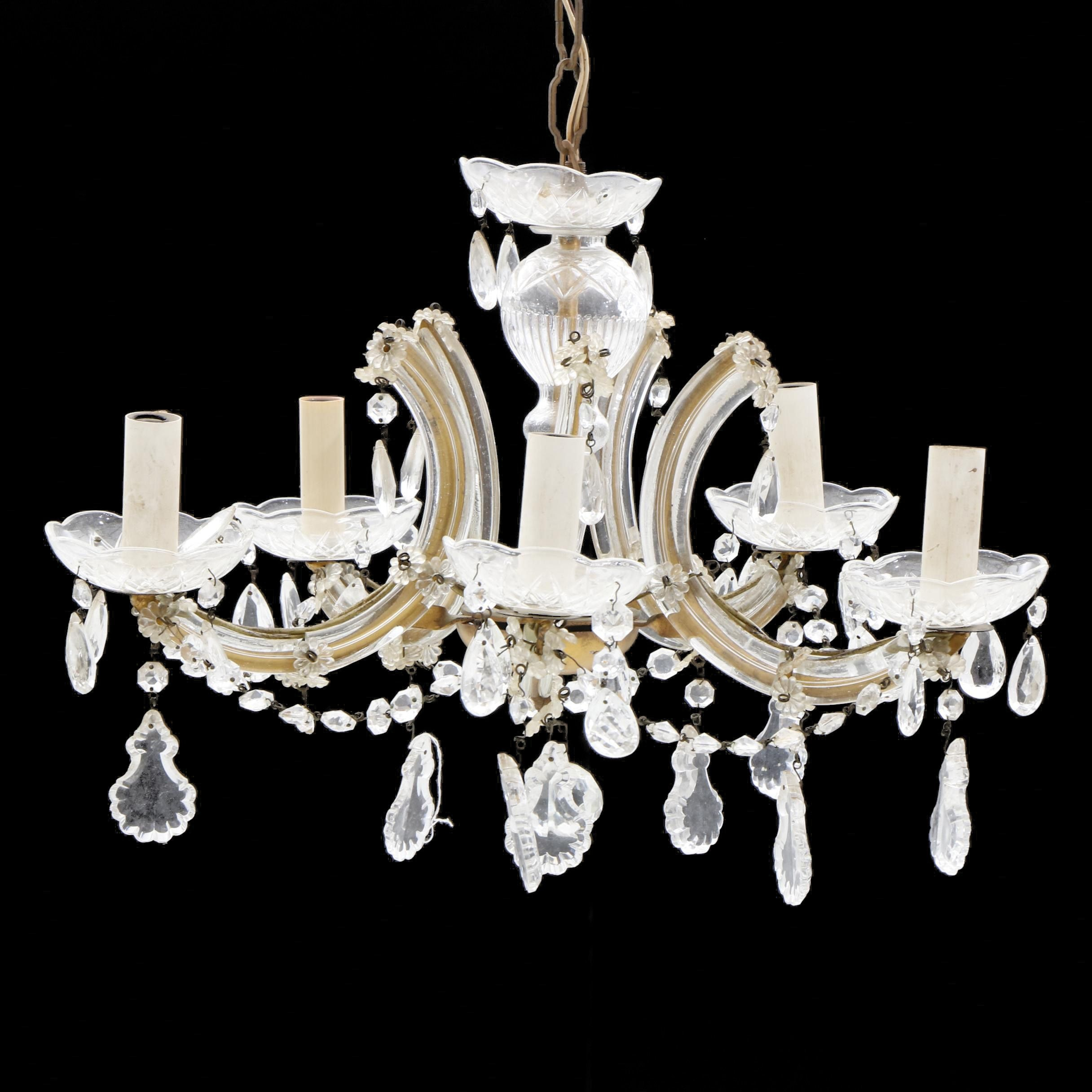 Glass Cased Five-Arm Chandelier with Prisms