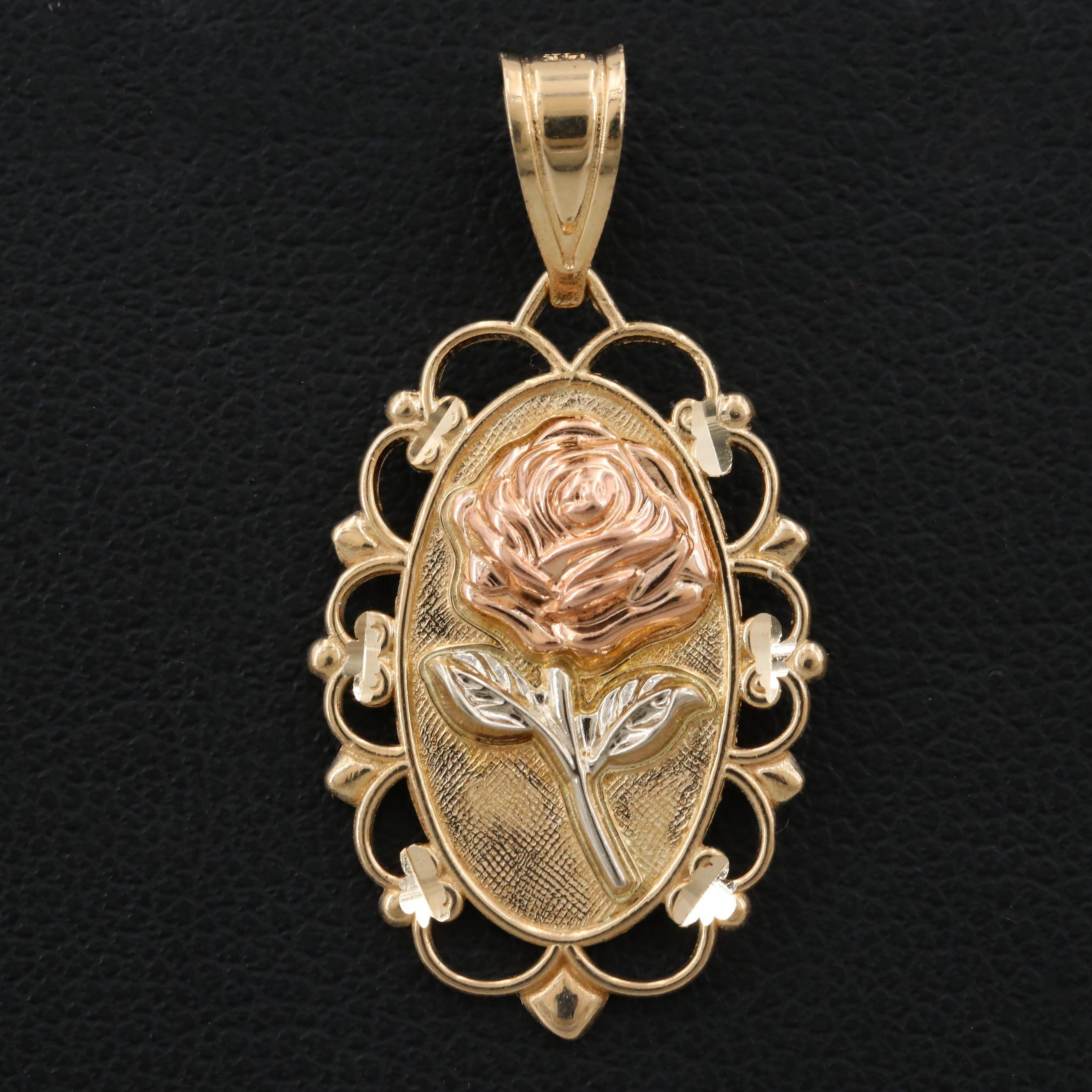 14K Yellow, Rose and Green Gold Floral Pendant