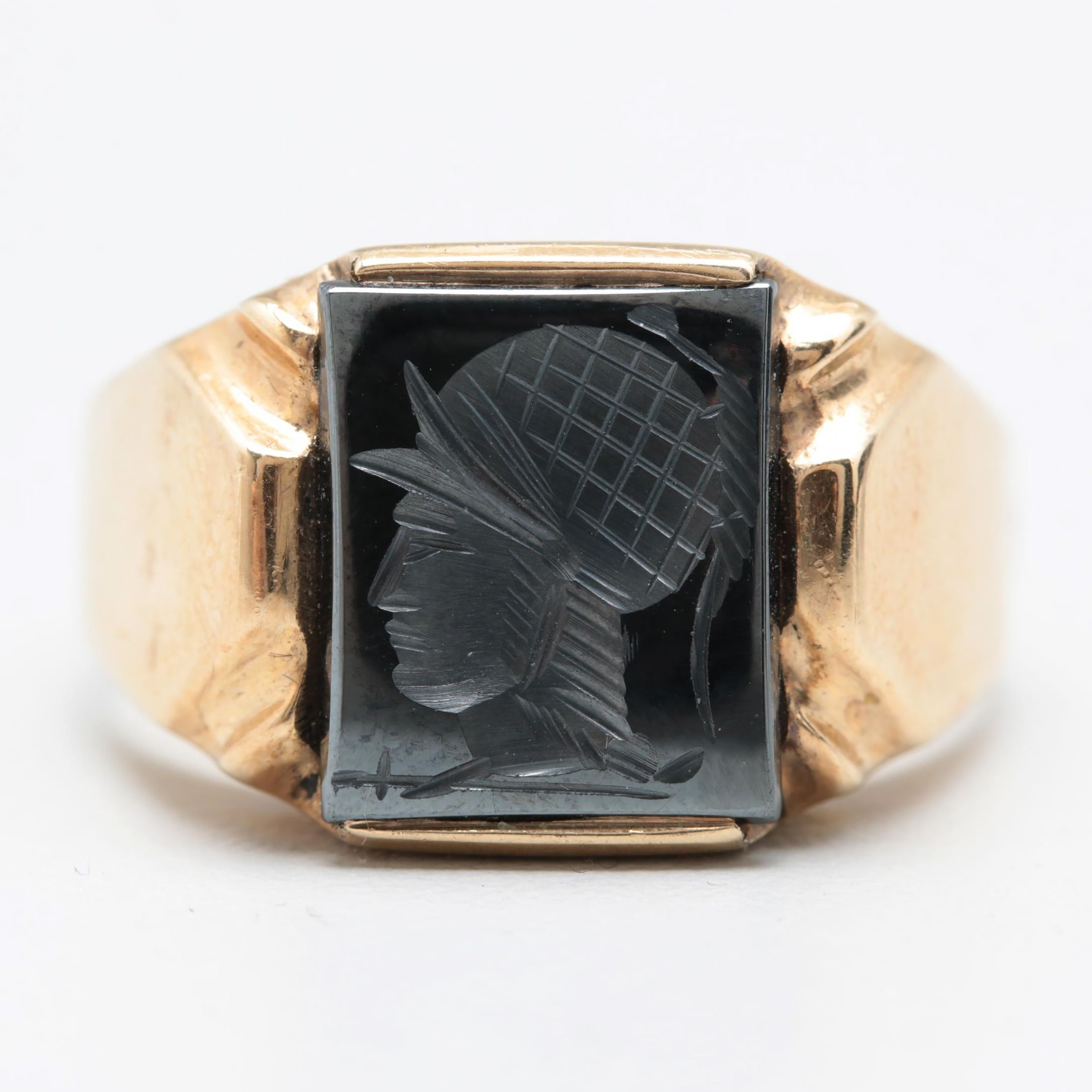 10K Yellow Gold Synthetic Hematite Ring