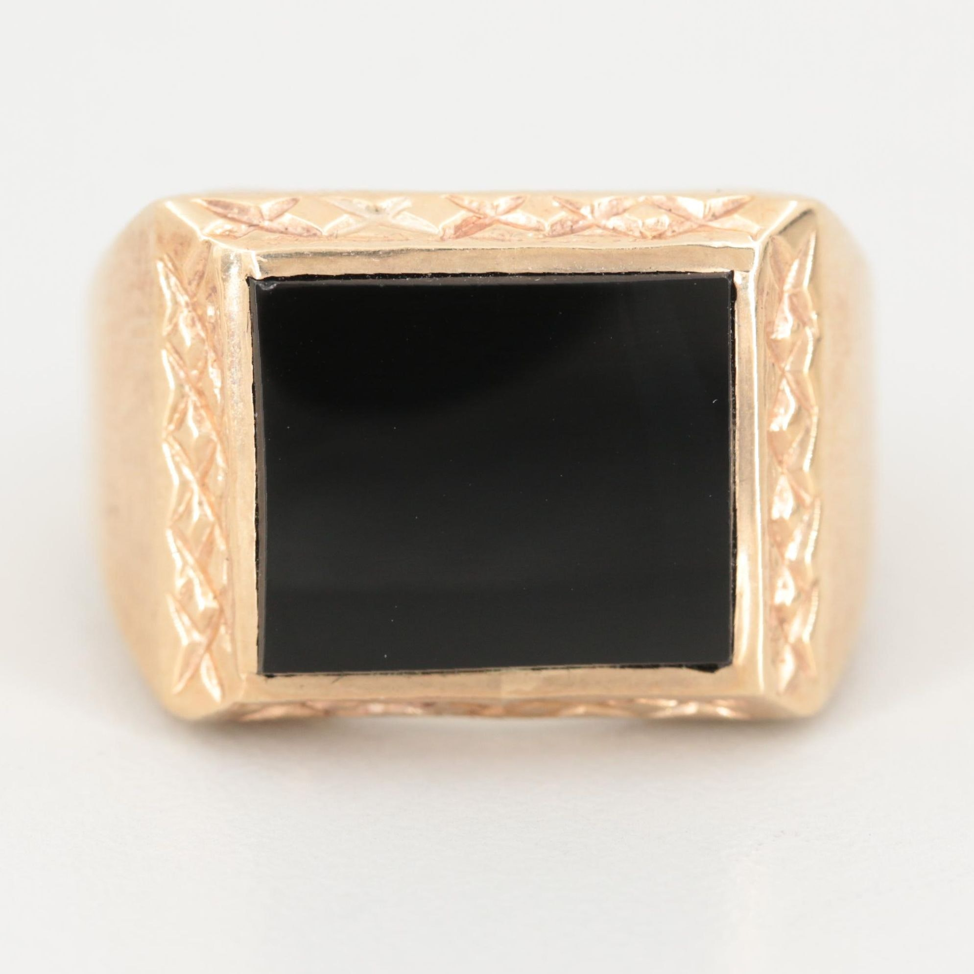 10K Yellow Gold Black Onyx Ring