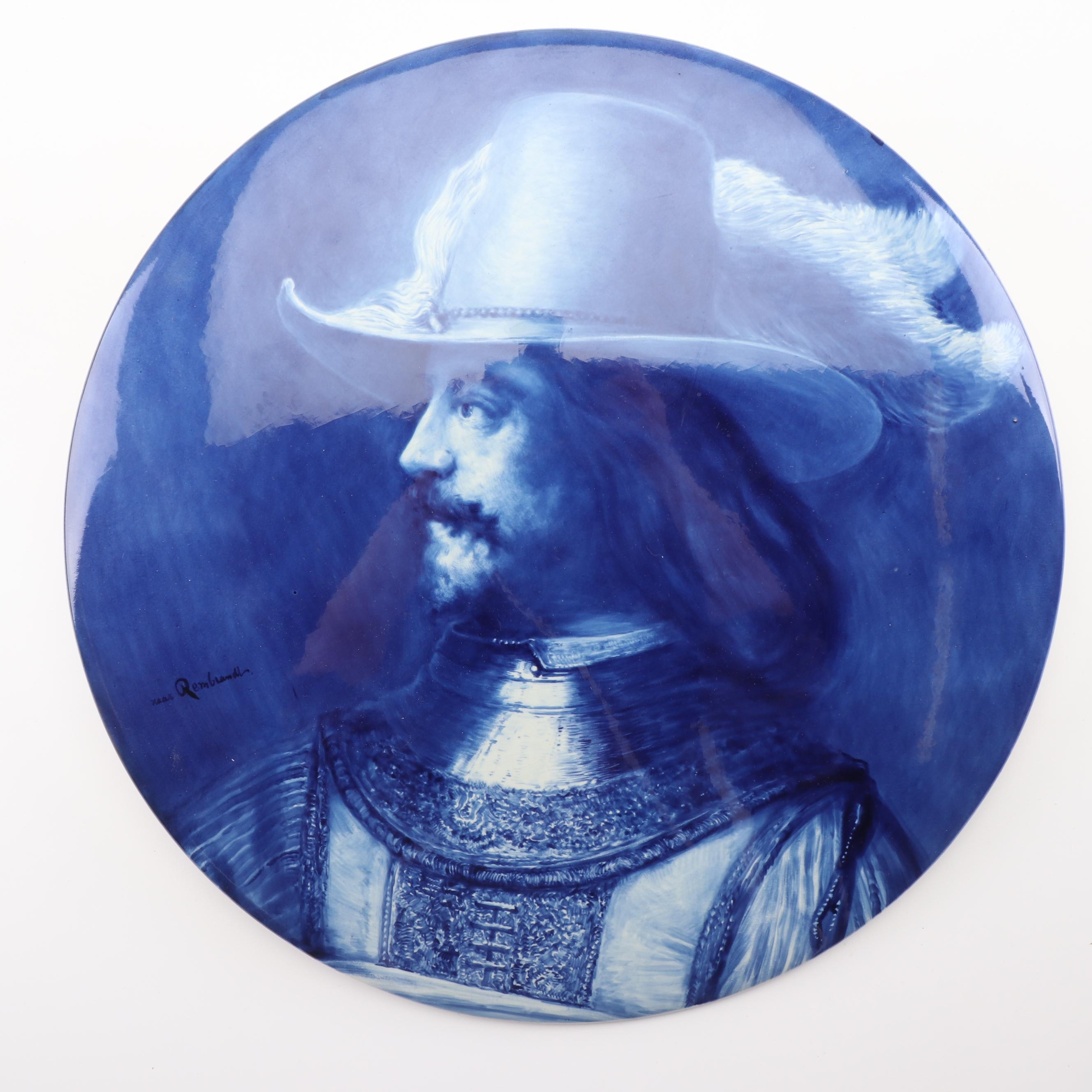 Joost Thooft Labouchere Large Delft Ceramic Tile Portrait after Rembrandt