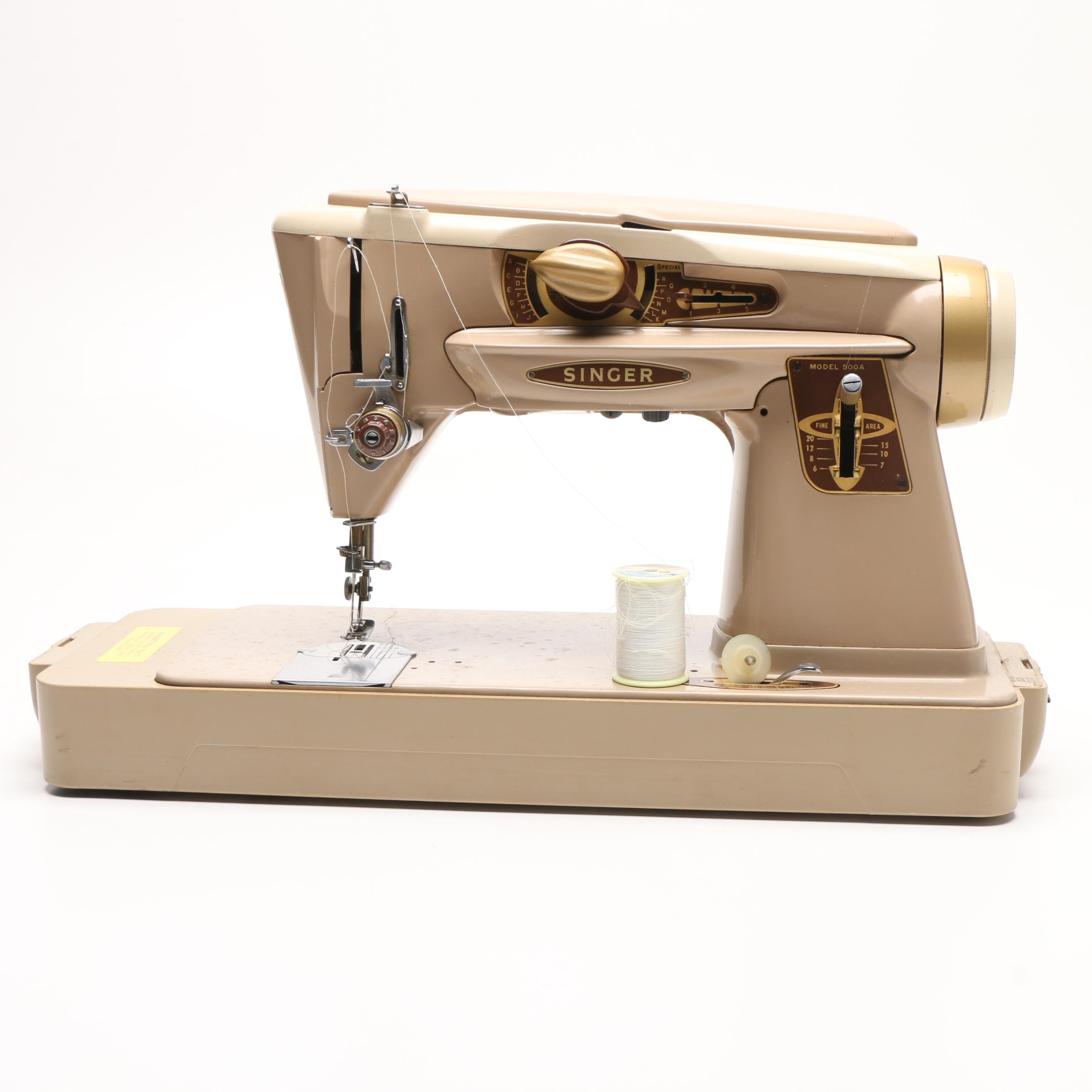 Vintage Portable Singer Sewing Machine 500A with Carrying Case