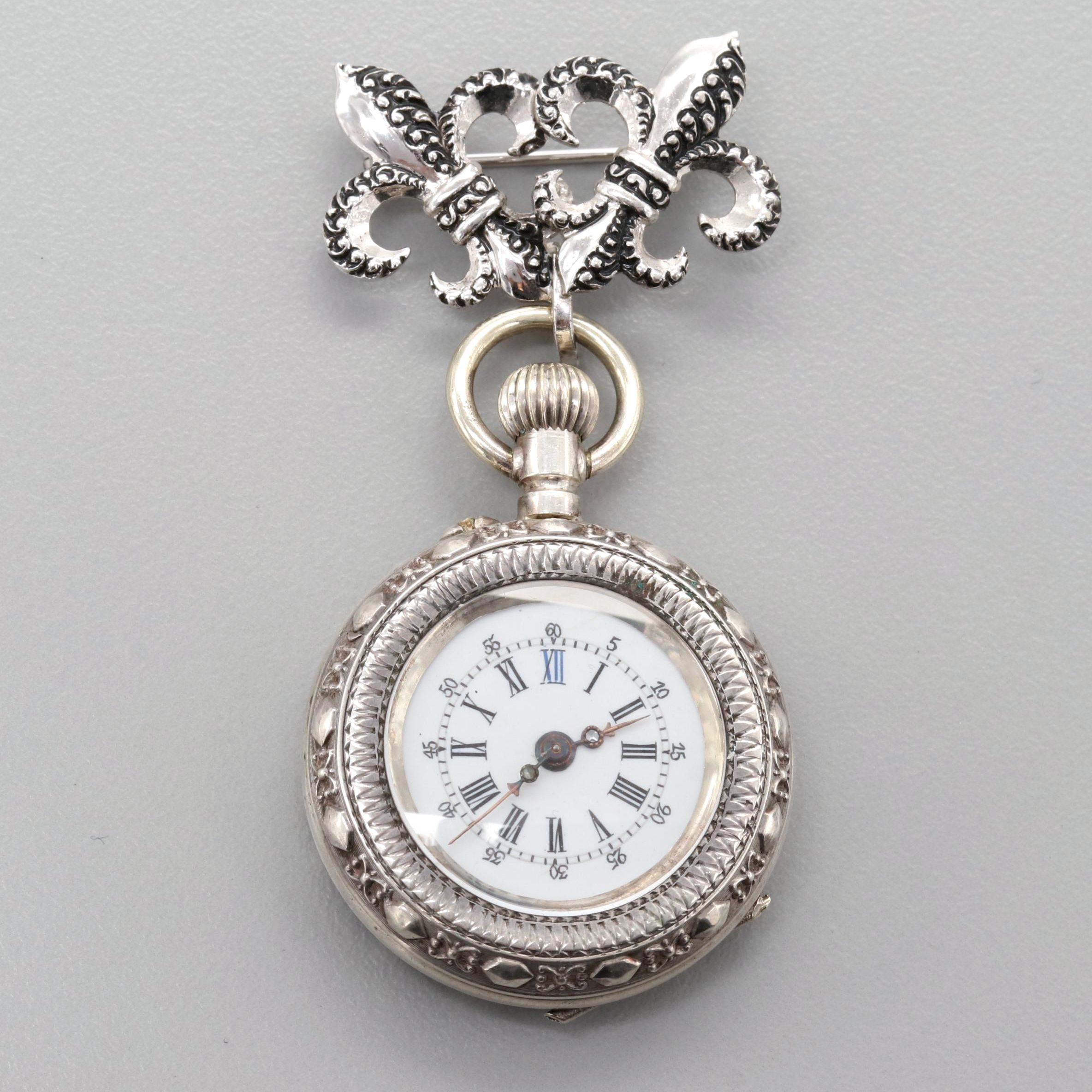 900 Silver Pocket Watch With Sterling Silver Fleur de Lis Brooch