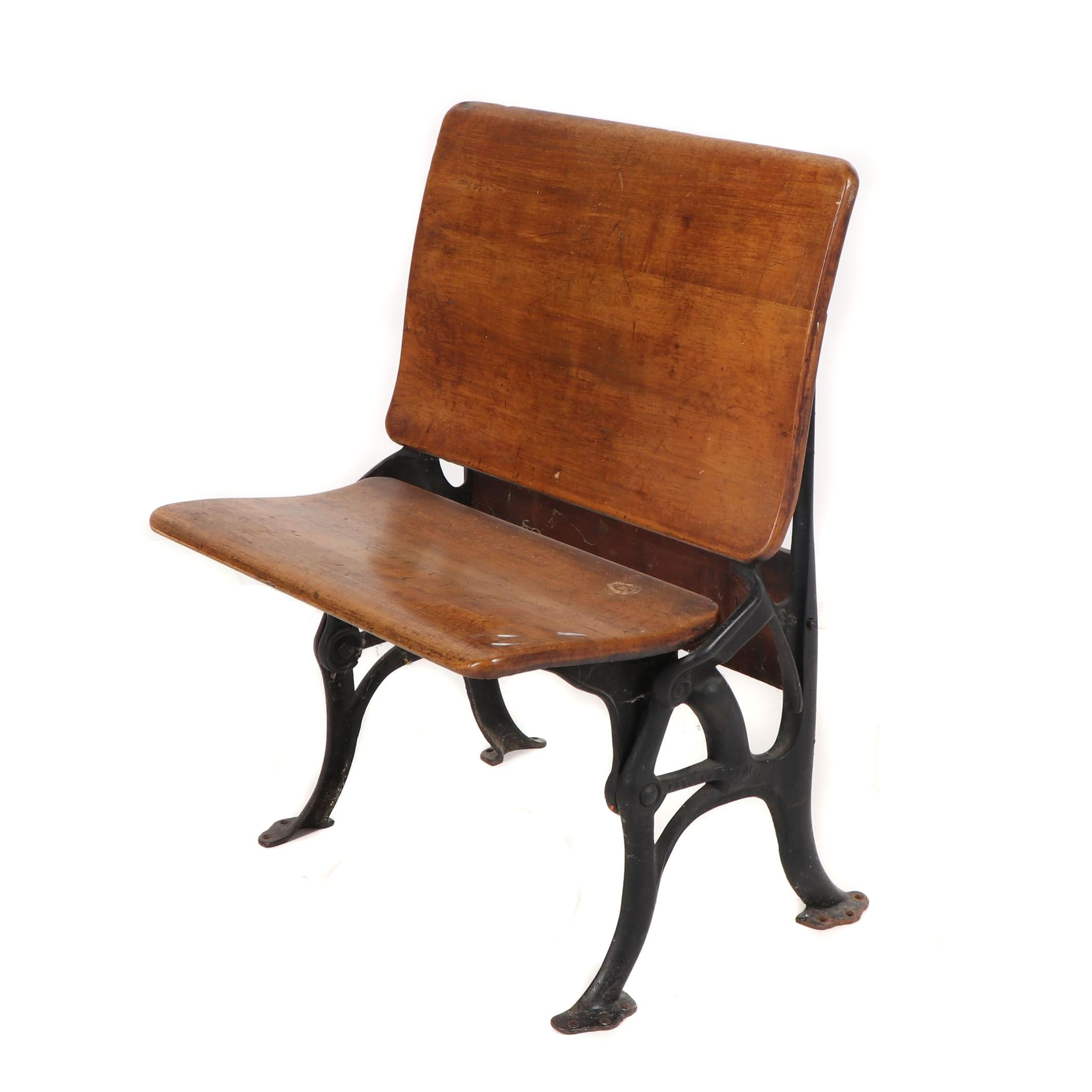Cast Iron and Wood Folding School Bench, Early 20th Century