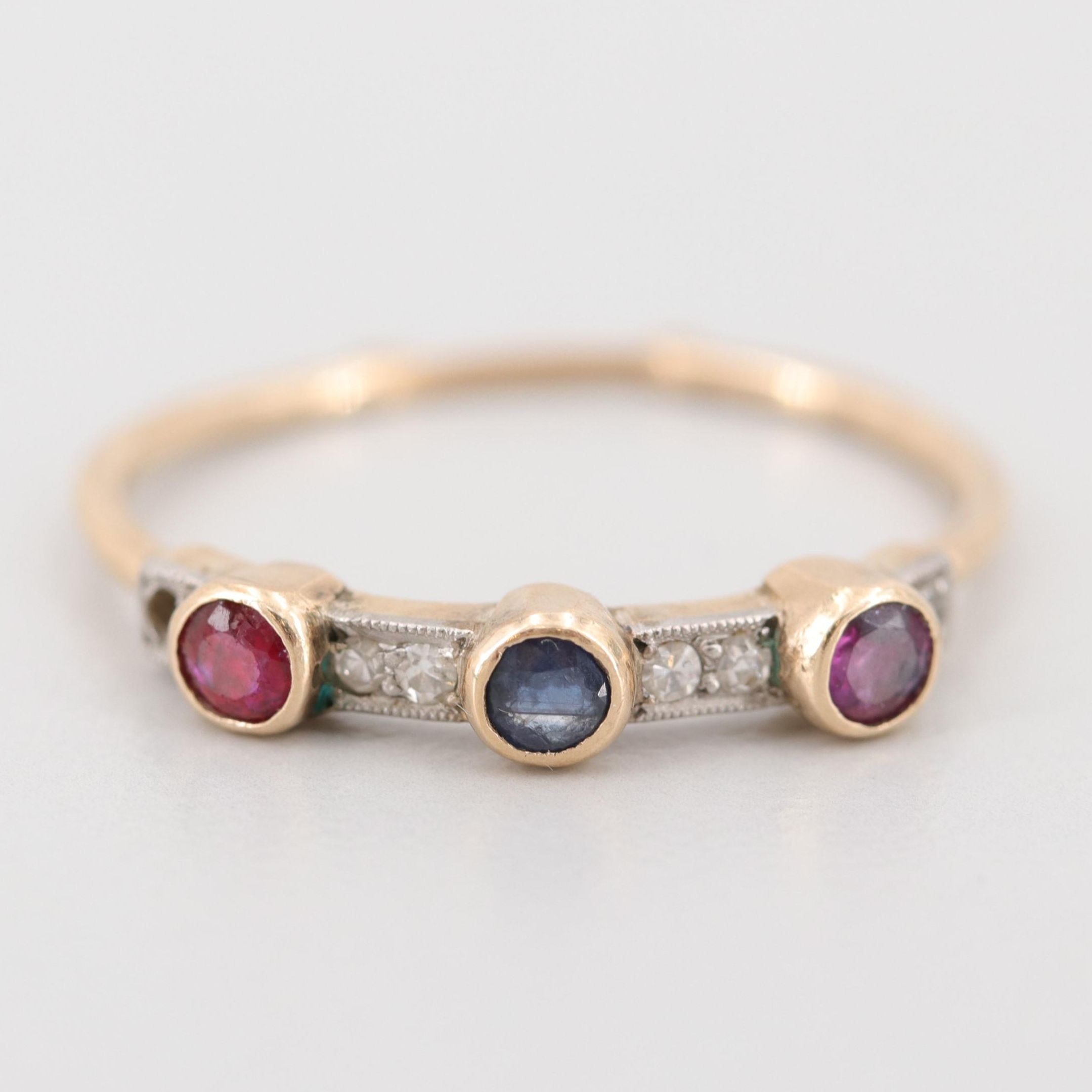 Vintage 14K Yellow Gold Sapphire, Ruby and Diamond Ring