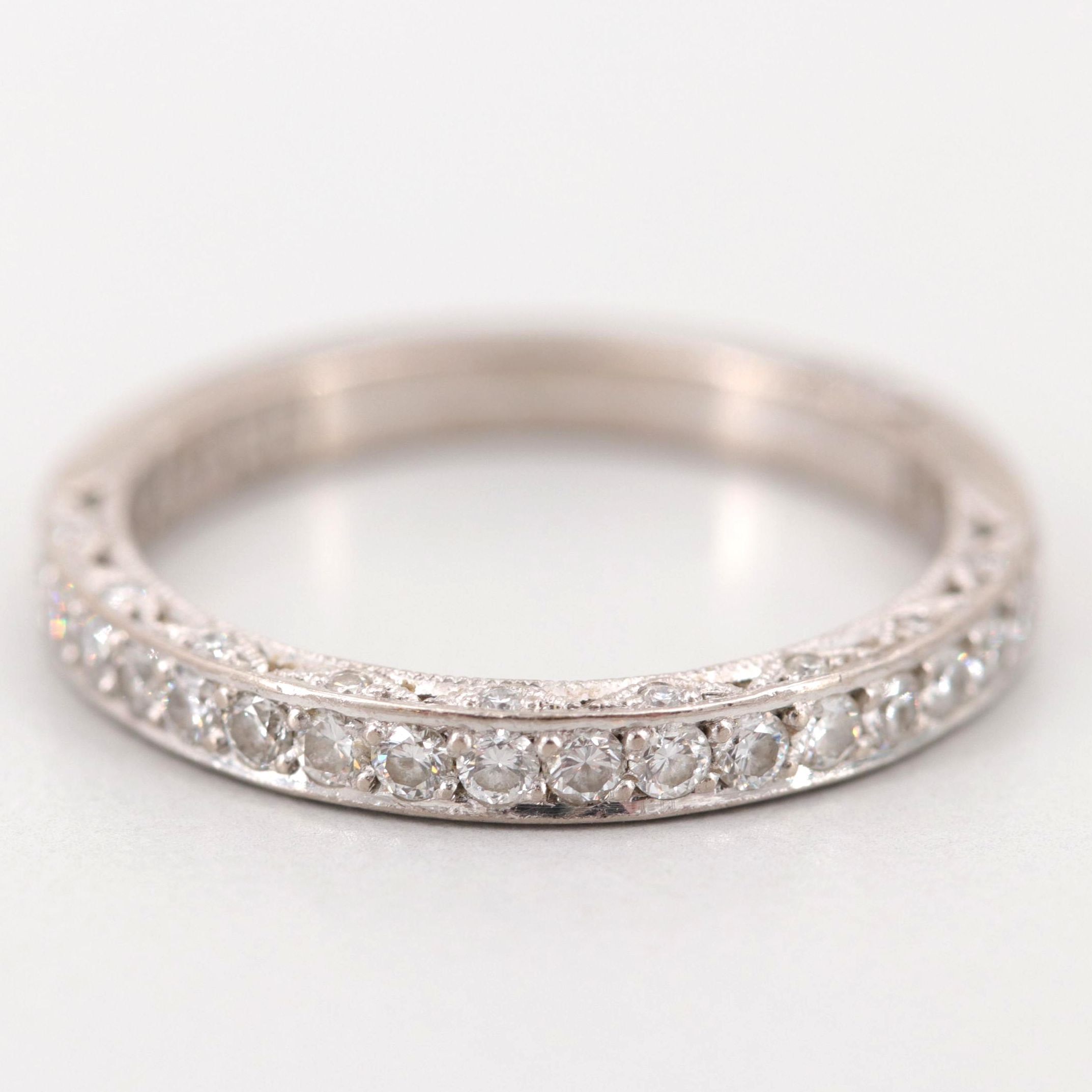 Tacori 18K White Gold Diamond Band Ring with Scalloped Bridge Detail