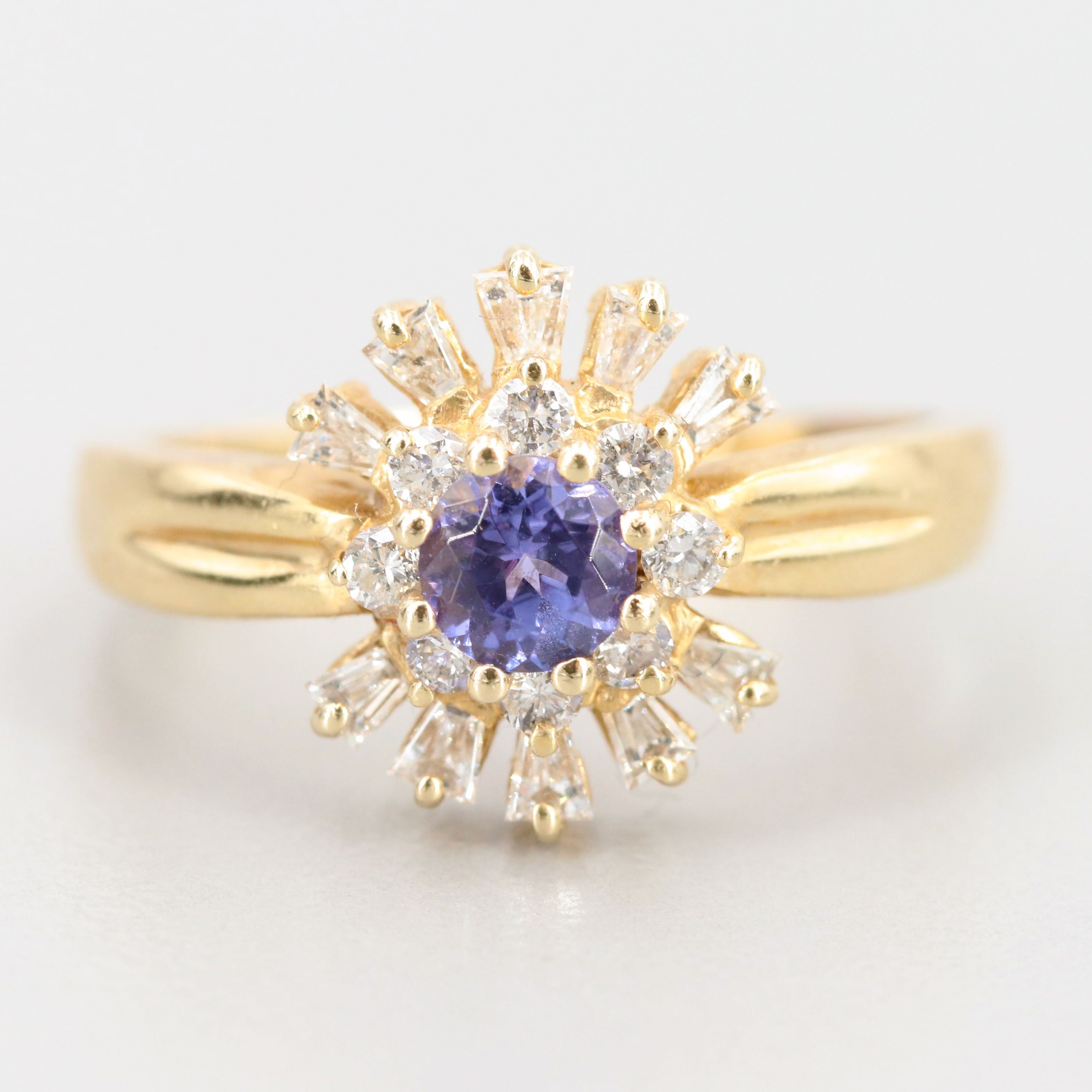 Vintage 14K Yellow Gold Tanzanite and Diamond Ring