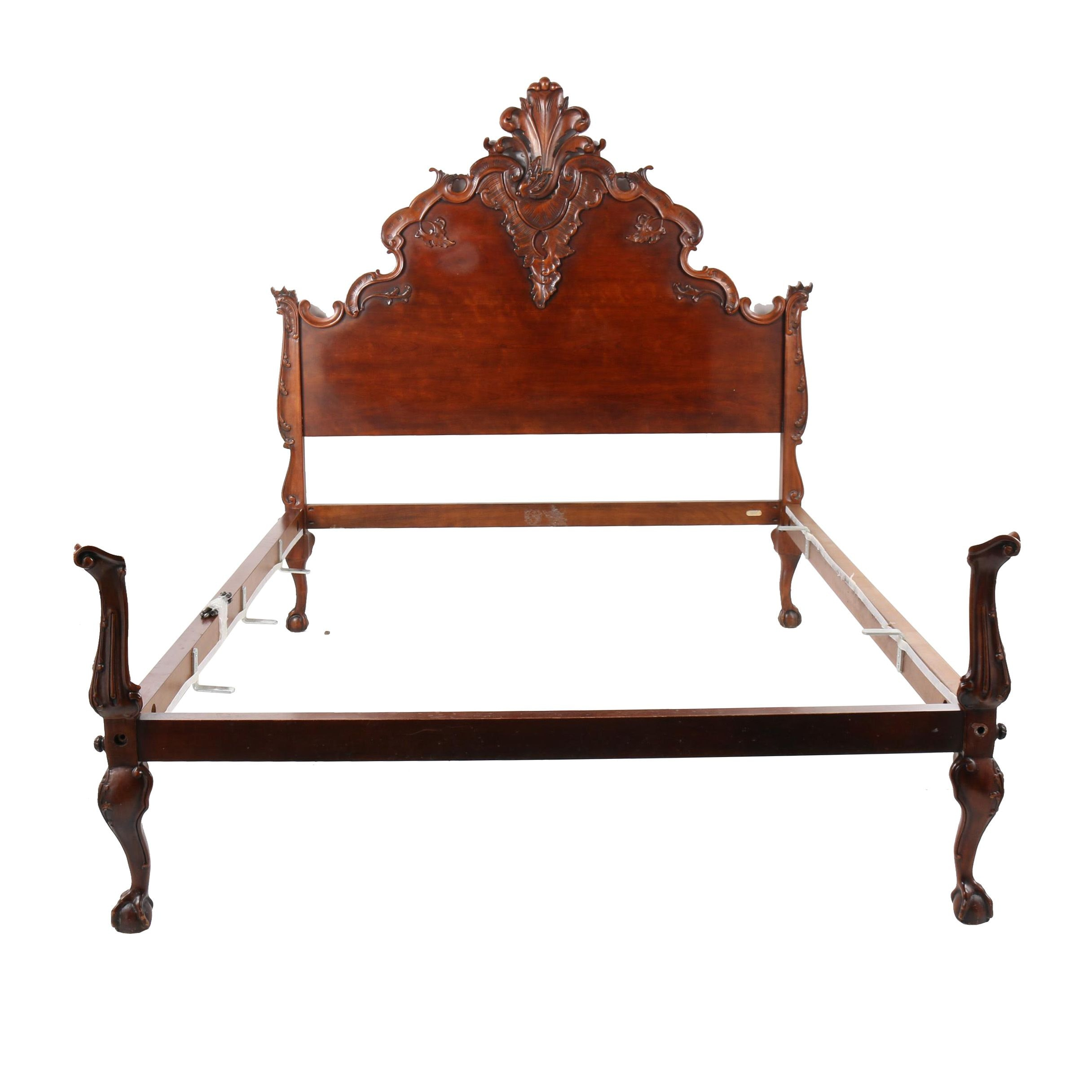 Rococo Style Carved Wood Queen Size Bed Frame by Ralph Lauren, 21st Century