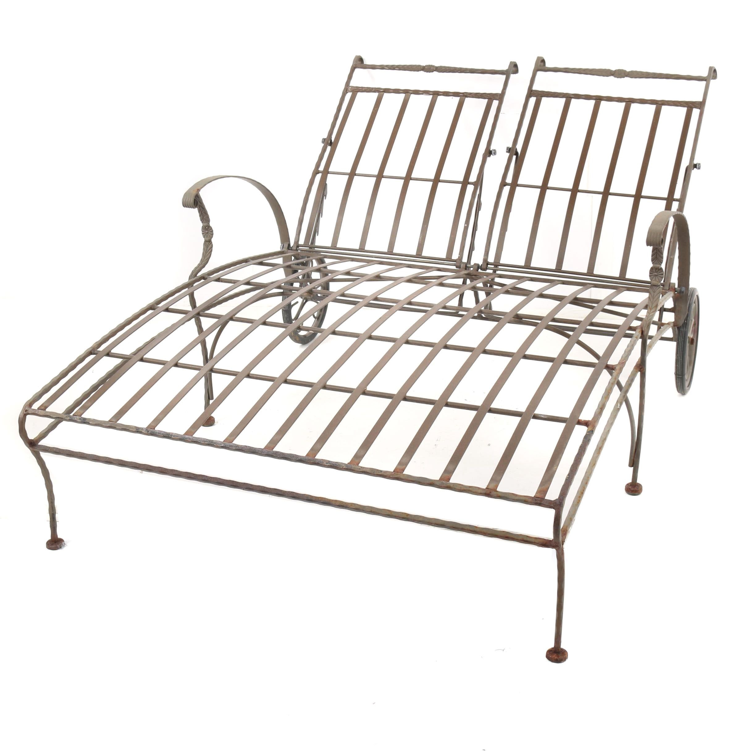 Metal Patio Double Chaise Lounge, Mid-20th Century
