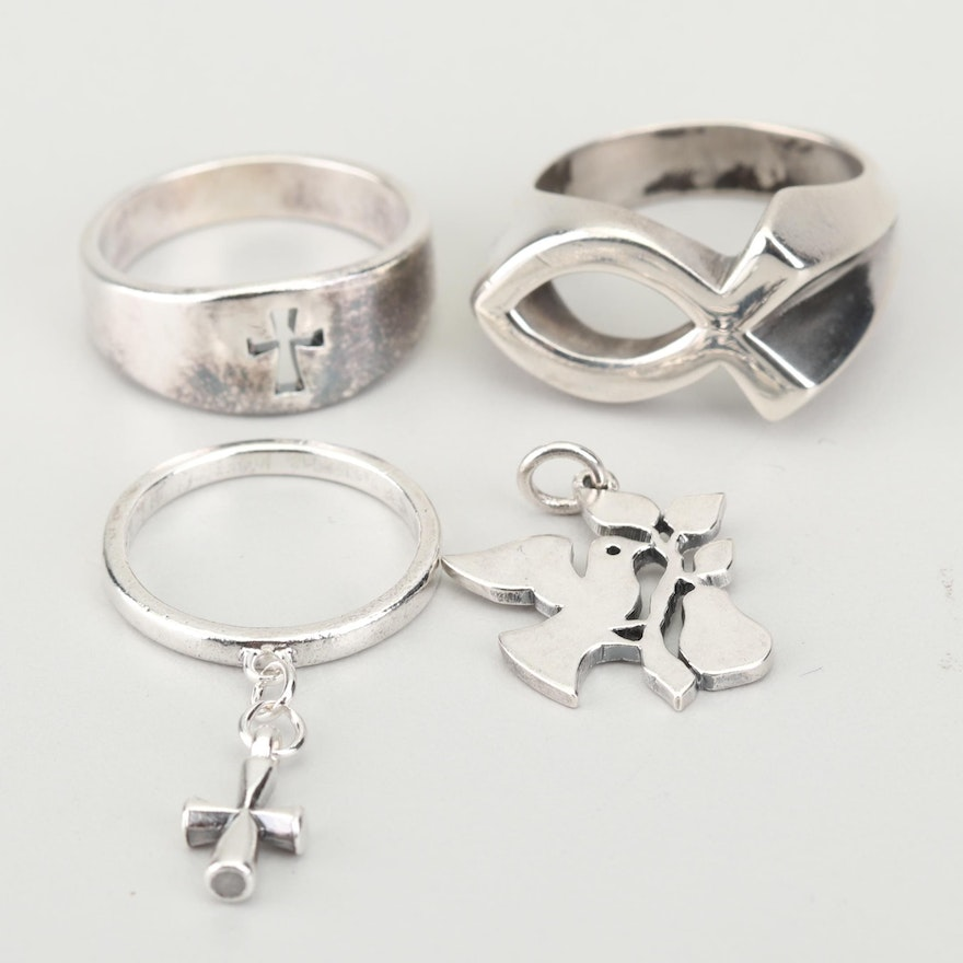 28f42020a James Avery Sterling Silver Cross Rings and Dove Charm : EBTH