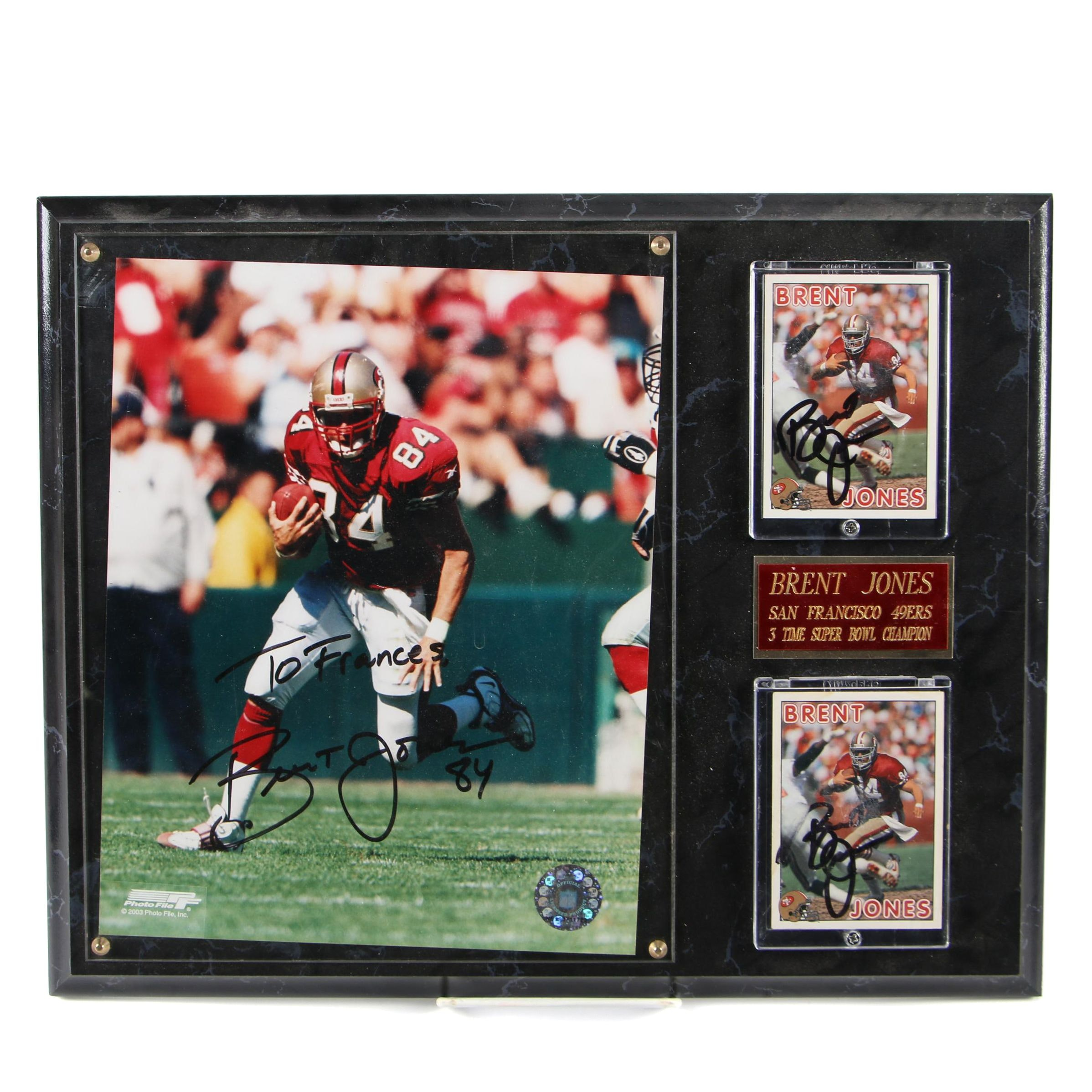 Autographed Brent Jones Photo and Football Cards