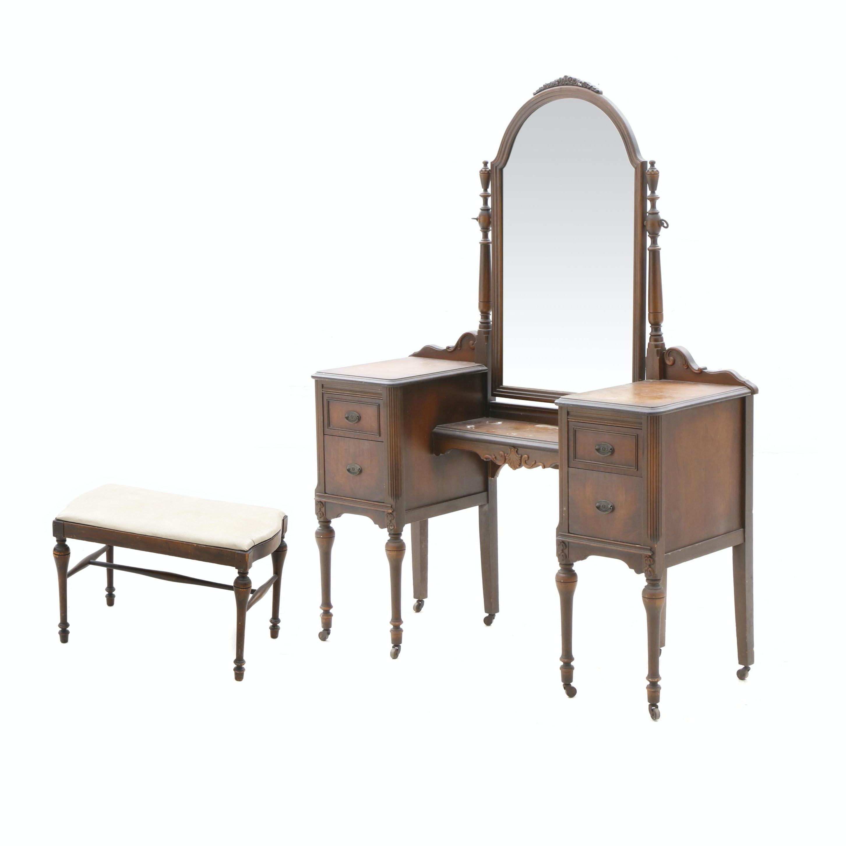 Late Victorian Walnut Vanity With Stool