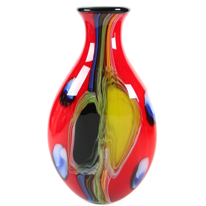 Large Multicolored Art Glass Vase After Sasaki