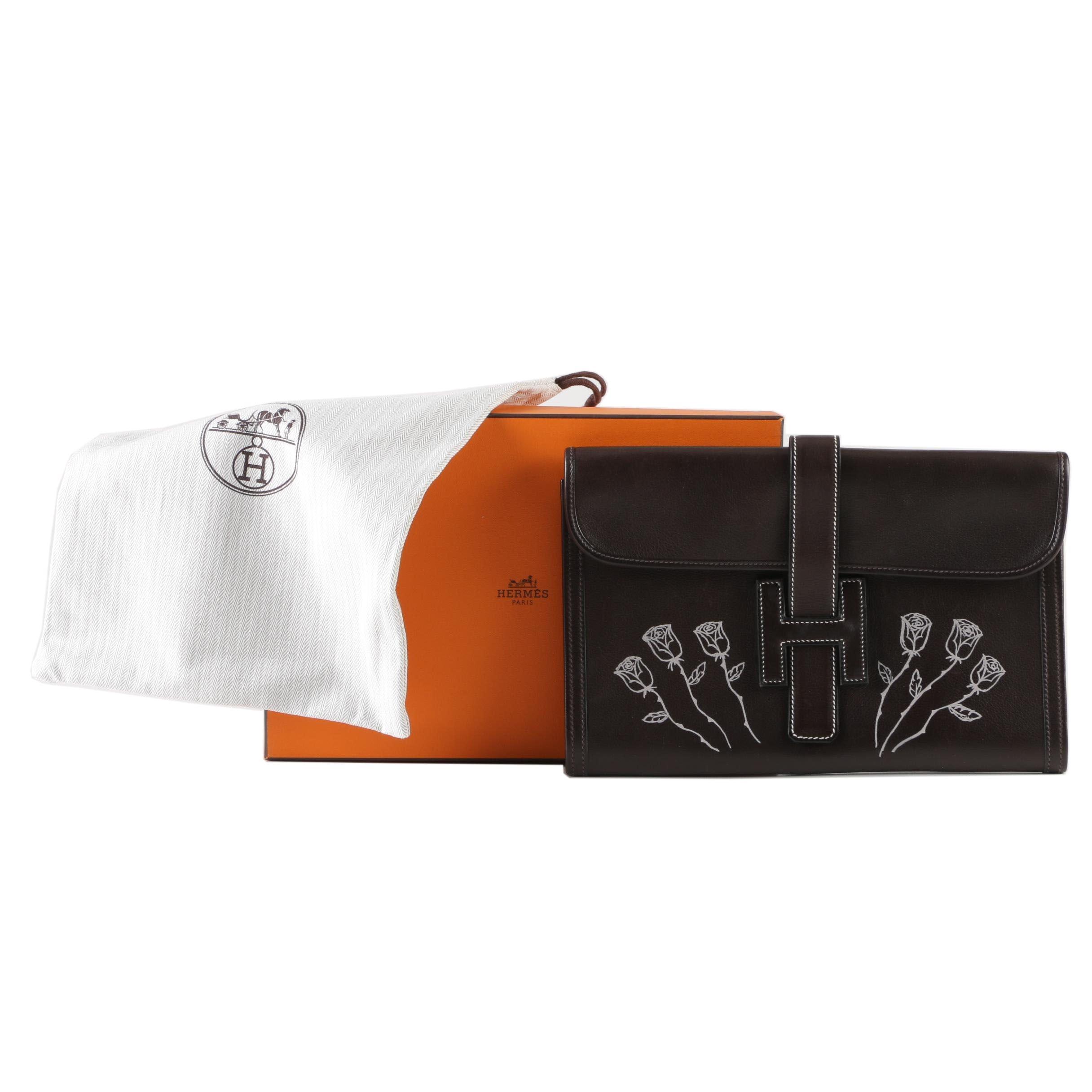 Hermès Jige Elan 29 Clemence Leather Clutch with Customized Embellishment