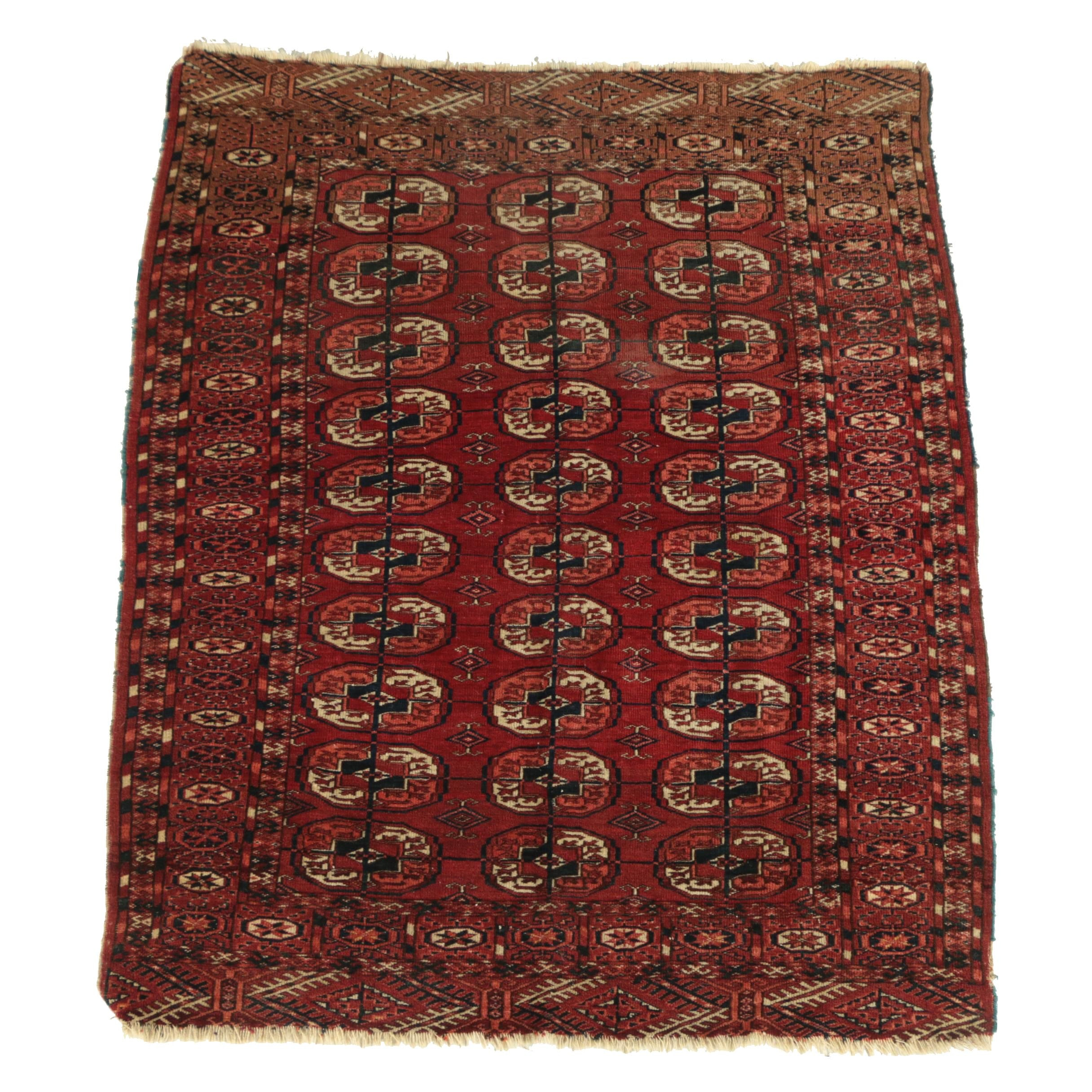 Hand-Knotted Turkmen Tekke Bokhara Wool Area Rug