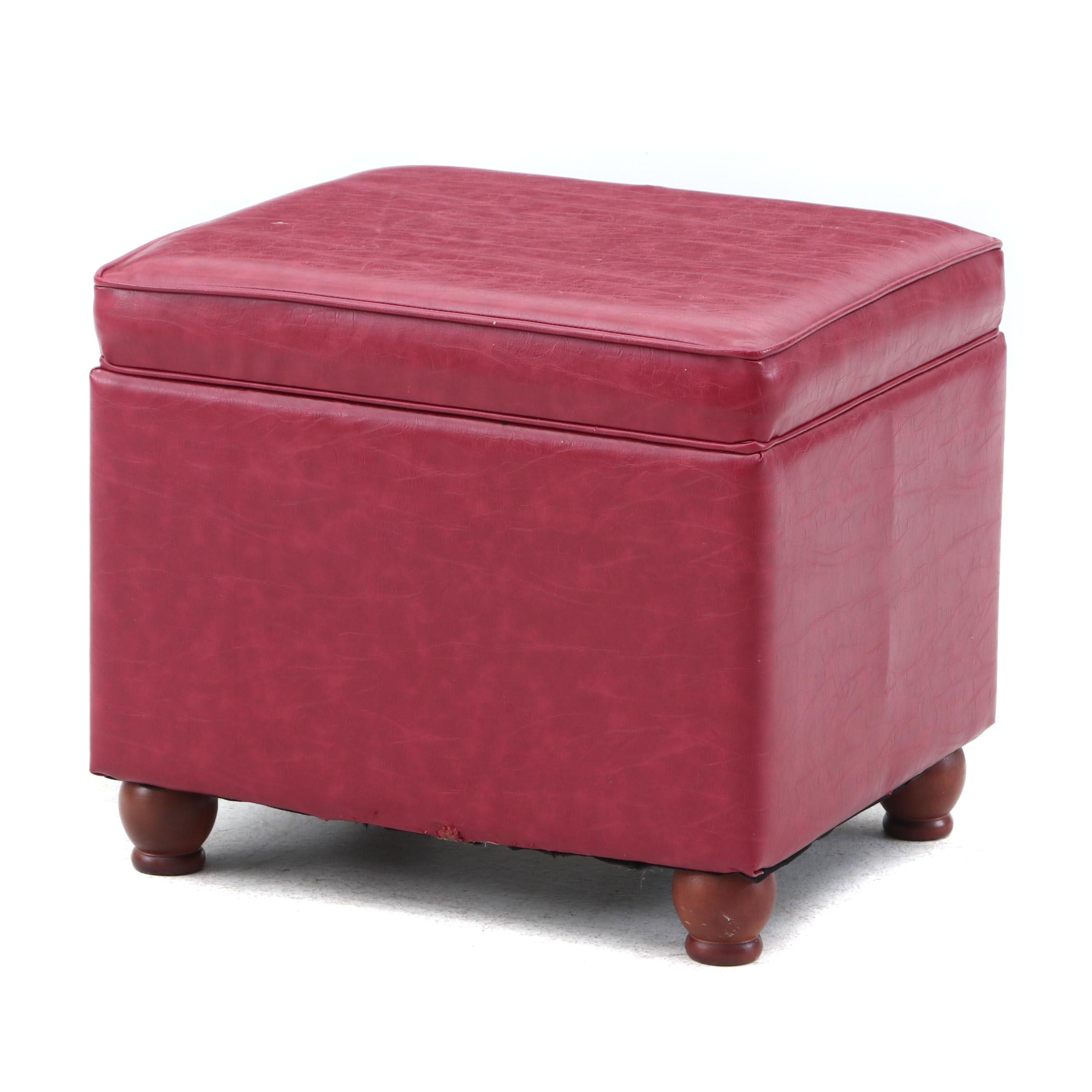 Padded Faux Leather Storage Footstool
