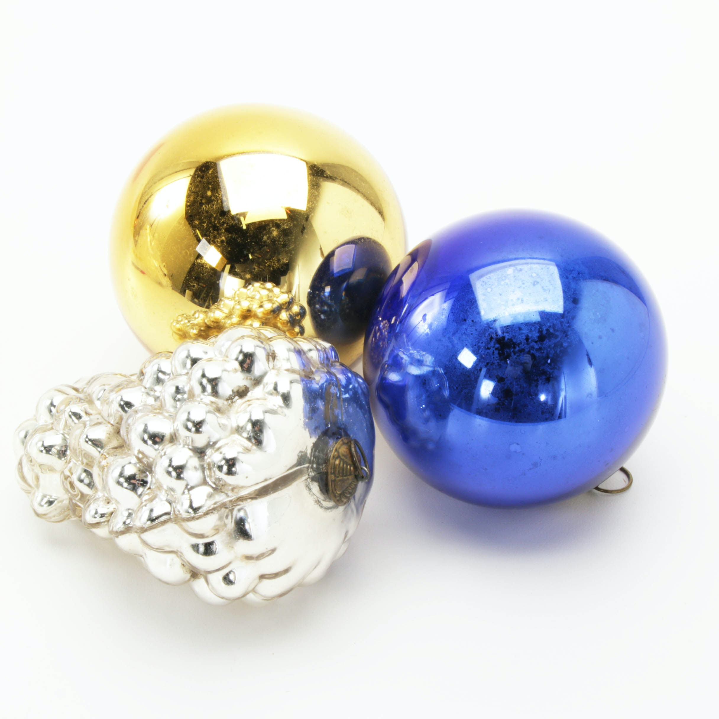 Glass and Brass Christmas Ornaments, Mid-Century
