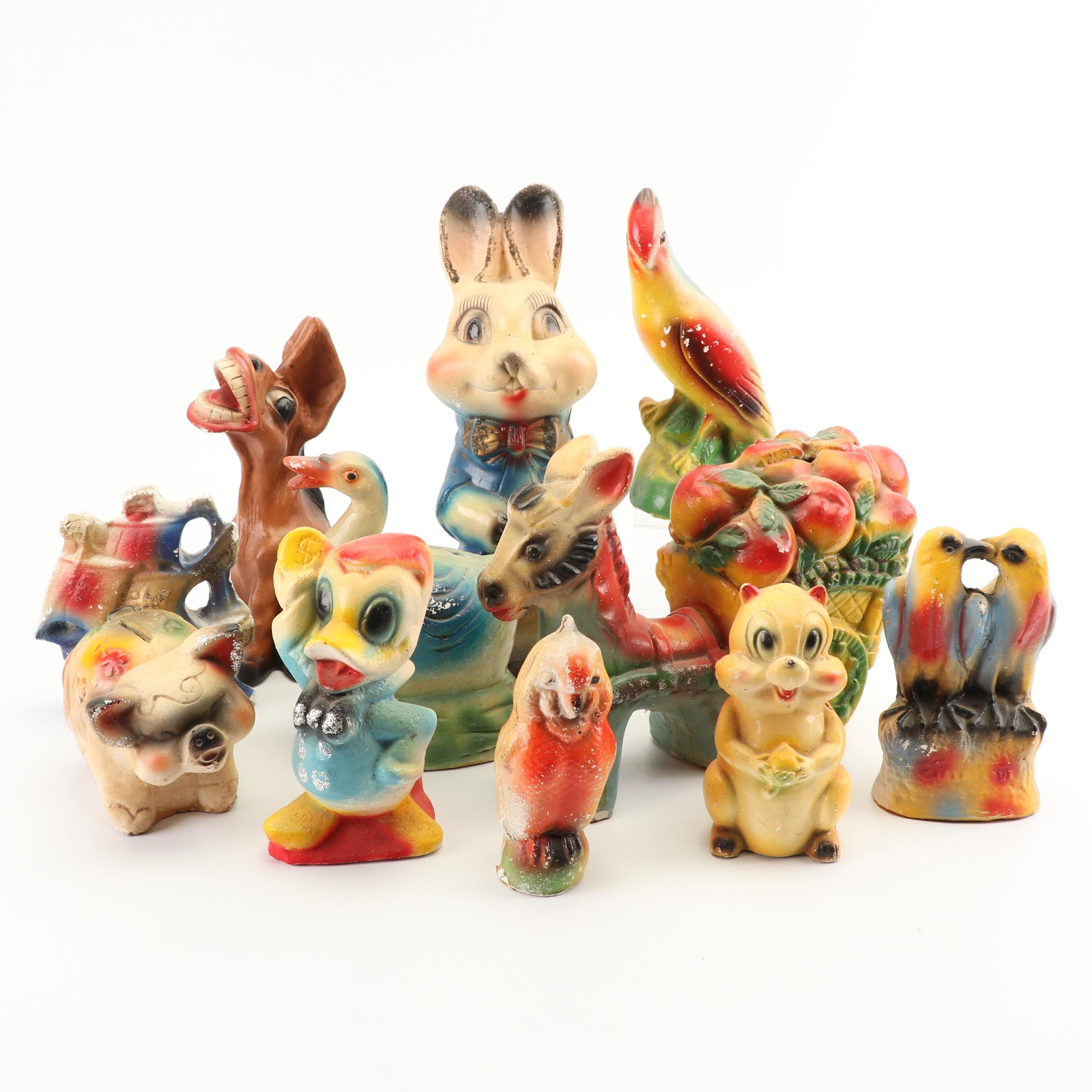 Chalkware Carnival Prize Piggy Banks and Animal Figurines, Early 20th Century