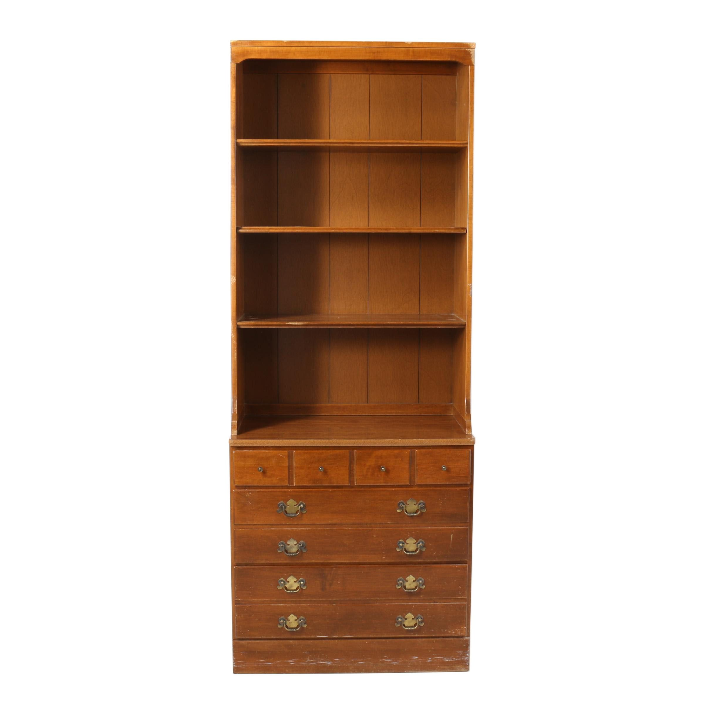 Colonial Style Maple Bookcase Chest by Ethan Allen, Late 20th Century