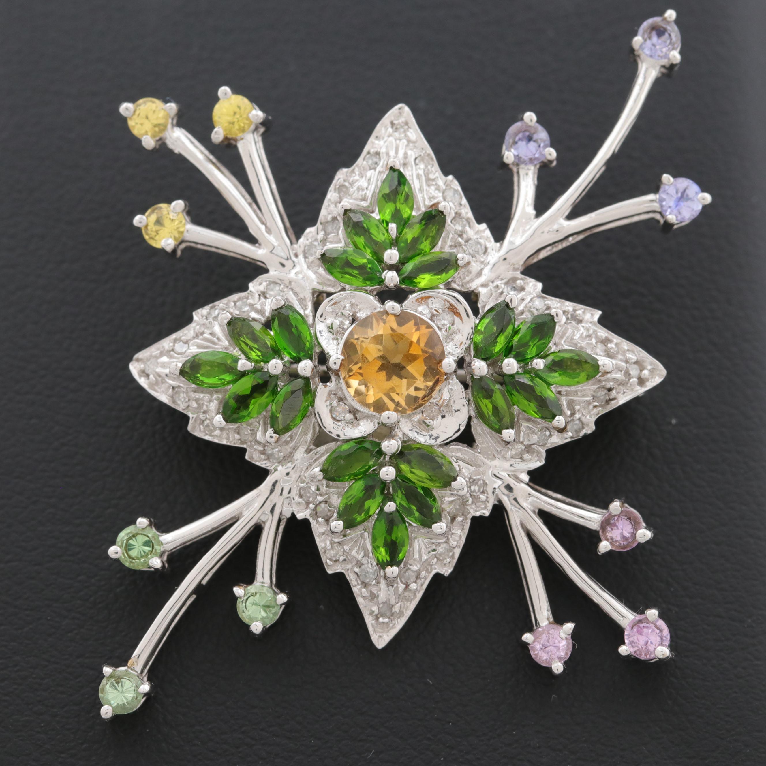 14K White Gold Diamond and Multi-Gemstone Brooch
