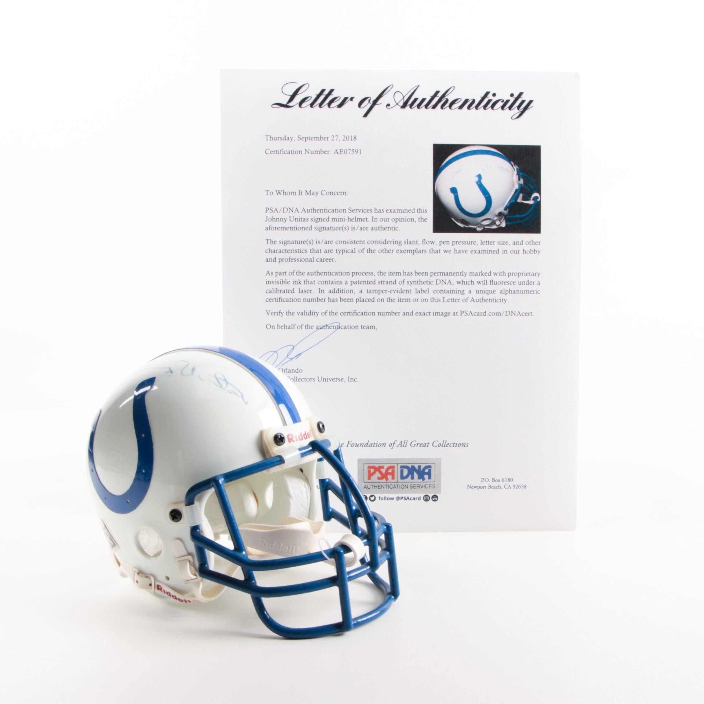 Johnny Unitas Autographed Miniature Helmet - PSA/DNA LOA