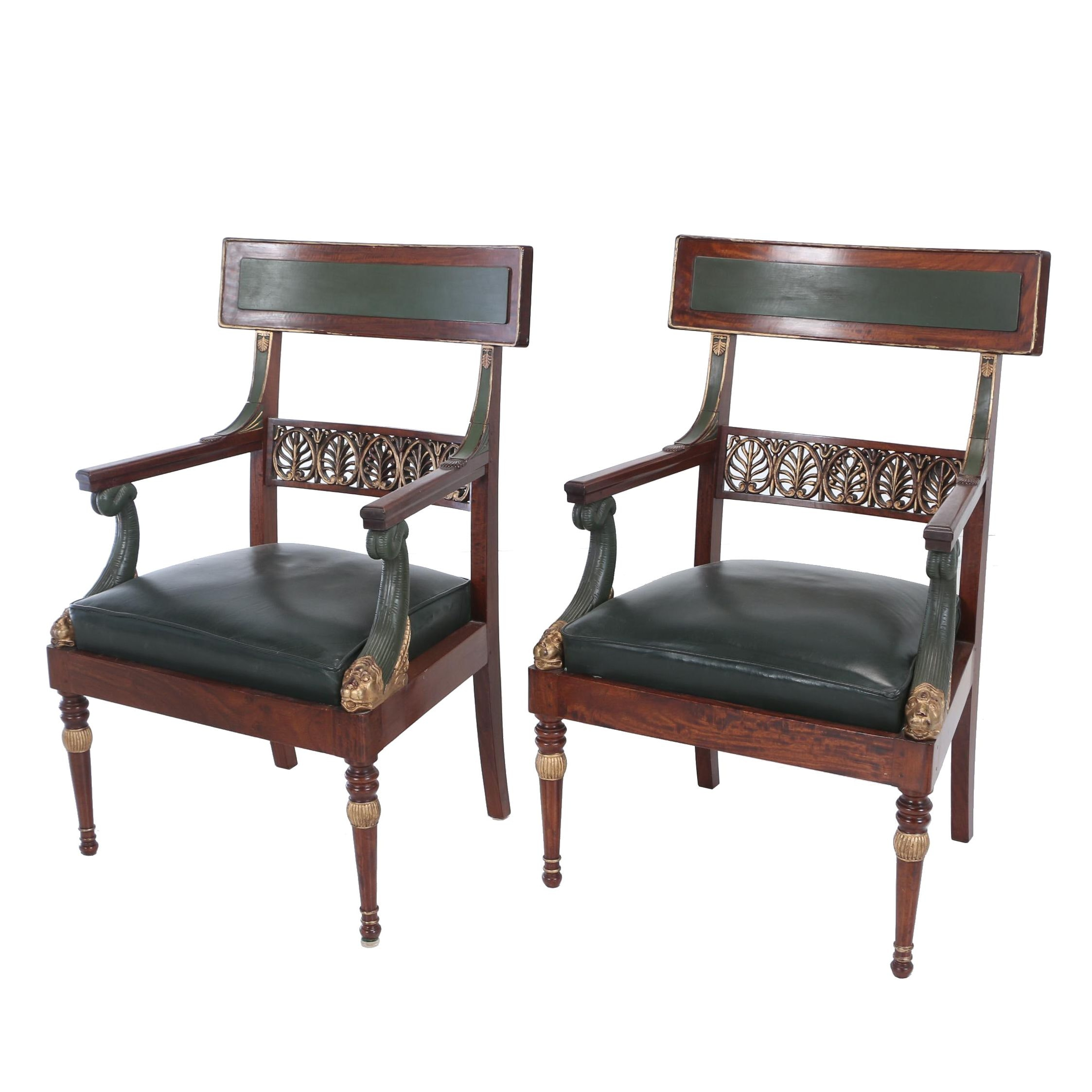 Pair of Contemporary Empire Style Mahogany, Parcel-Gilt, and Painted Armchairs