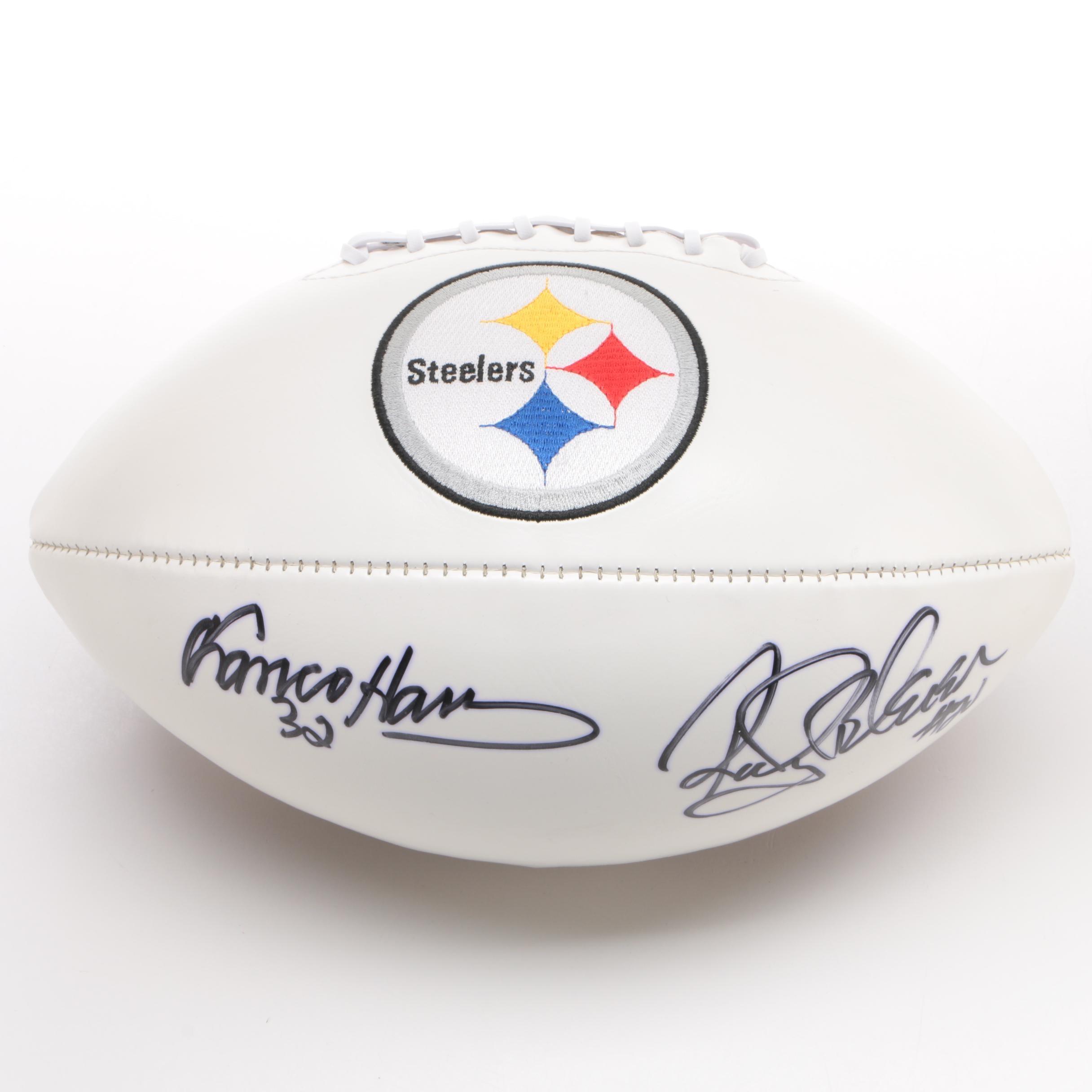 Franco Harris and Rocky Bleier Autographed Steelers Football - JSA COA