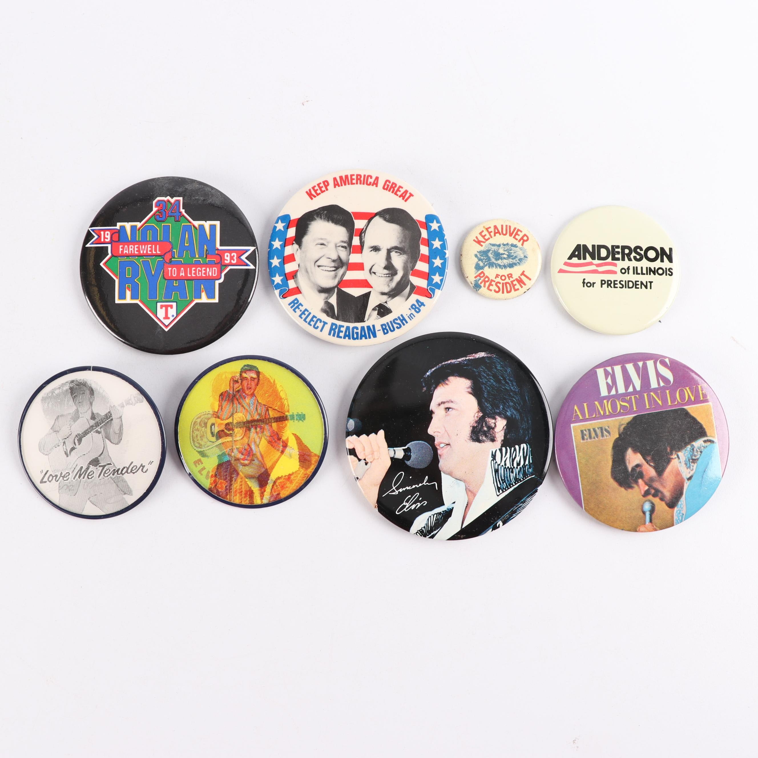 Elvis Presley, Nolan Ryan and Presidential Campaign Buttons
