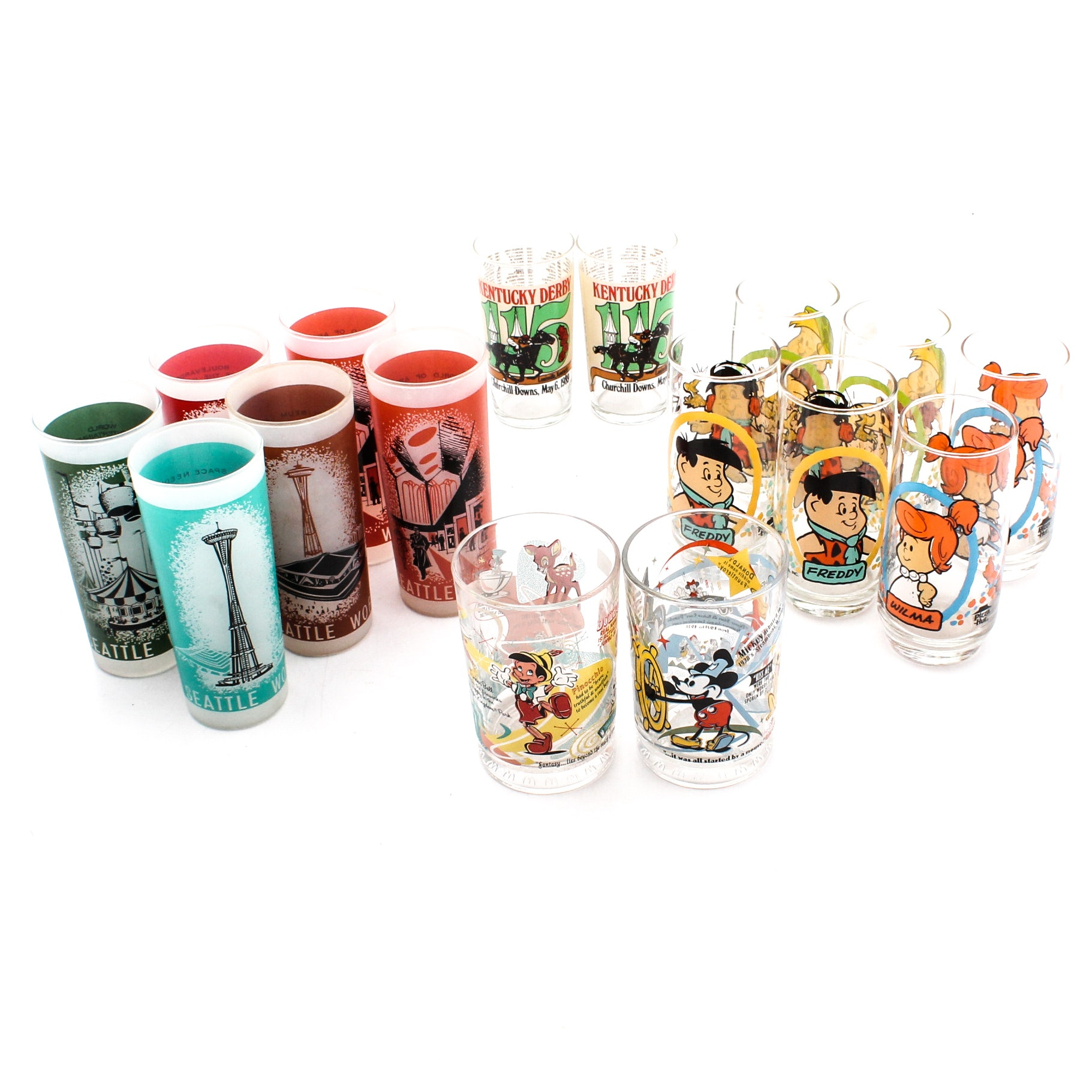 Collector Tumblers Featuring Seattle World's Fair and Flintstone Kids