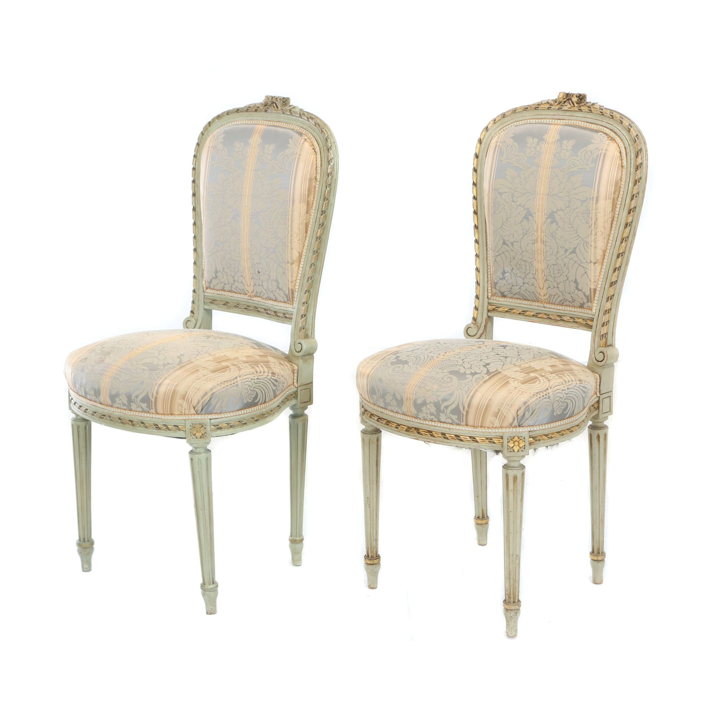 Pair of Louis XVI Style Painted and Parcel-Gilt Side Chairs, Early 20th Century