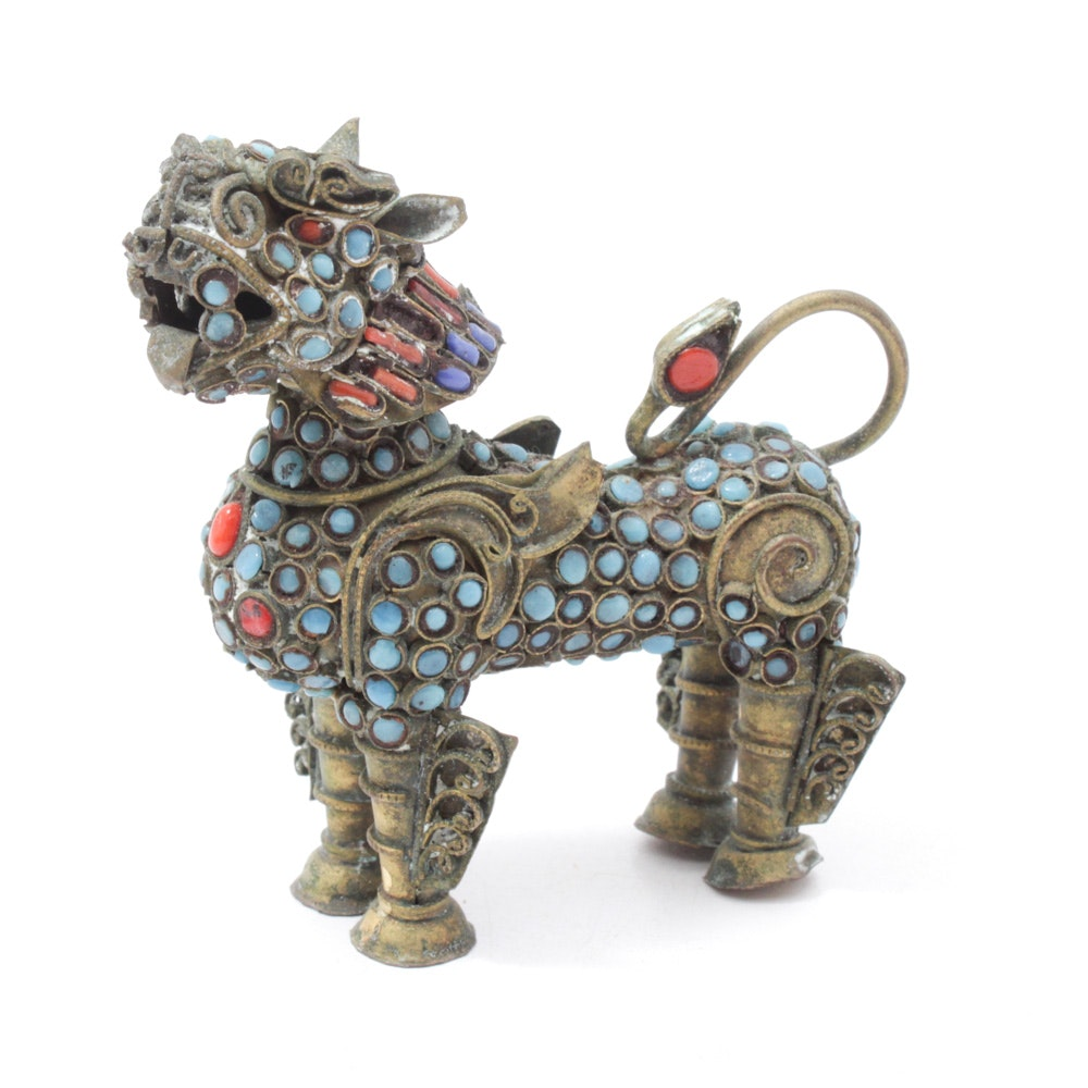 Tibetan Dyed Turquoise and Coral Brass Filigree Guardian Lion Censer