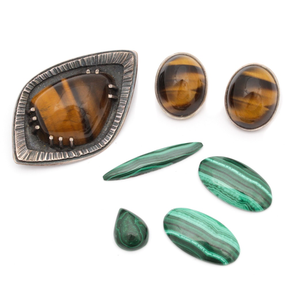 Sterling Silver Tiger Eye Artisan Jewlery and Loose Malachite Gemstones