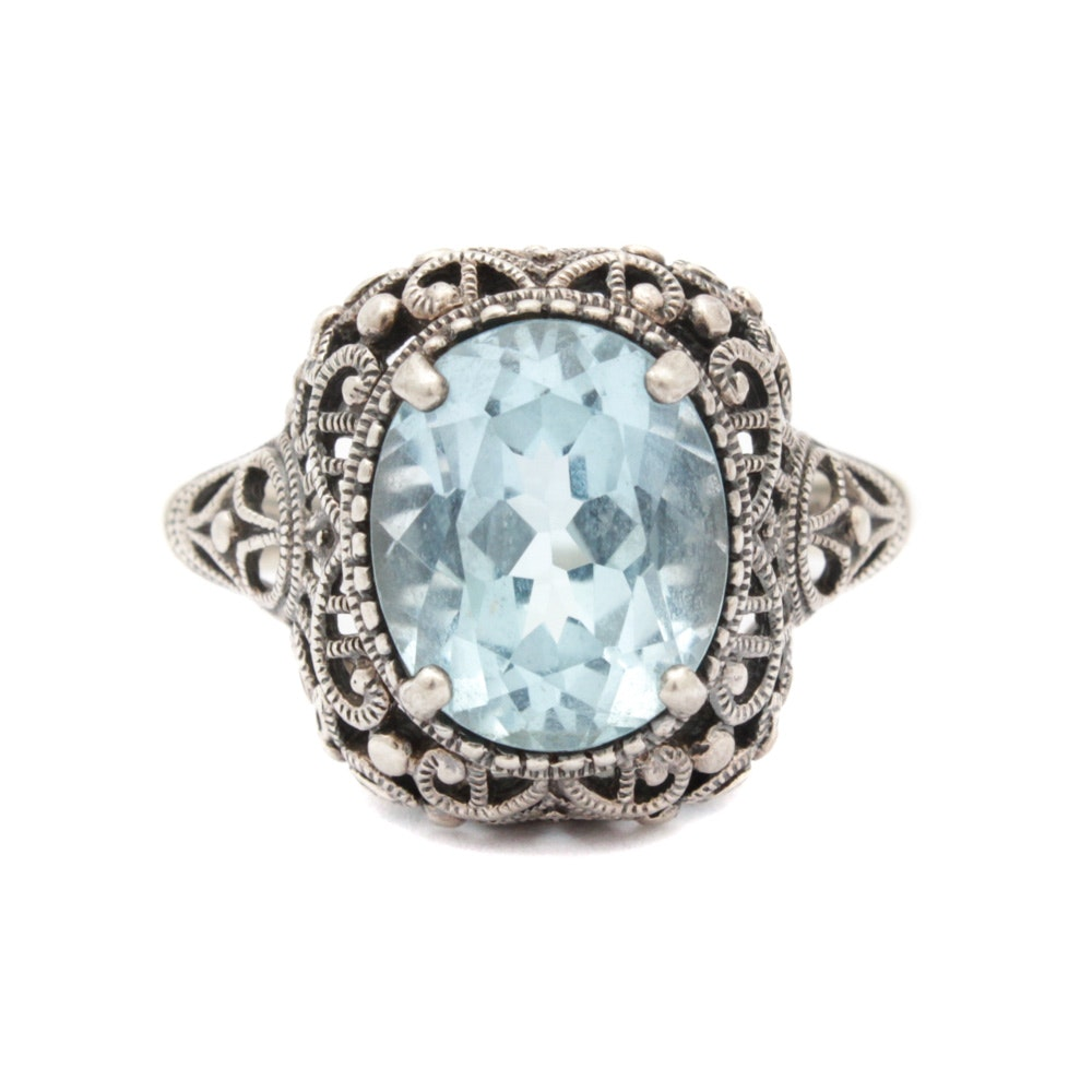 Sterling Silver and Imitation Gemstone Ring by CNA