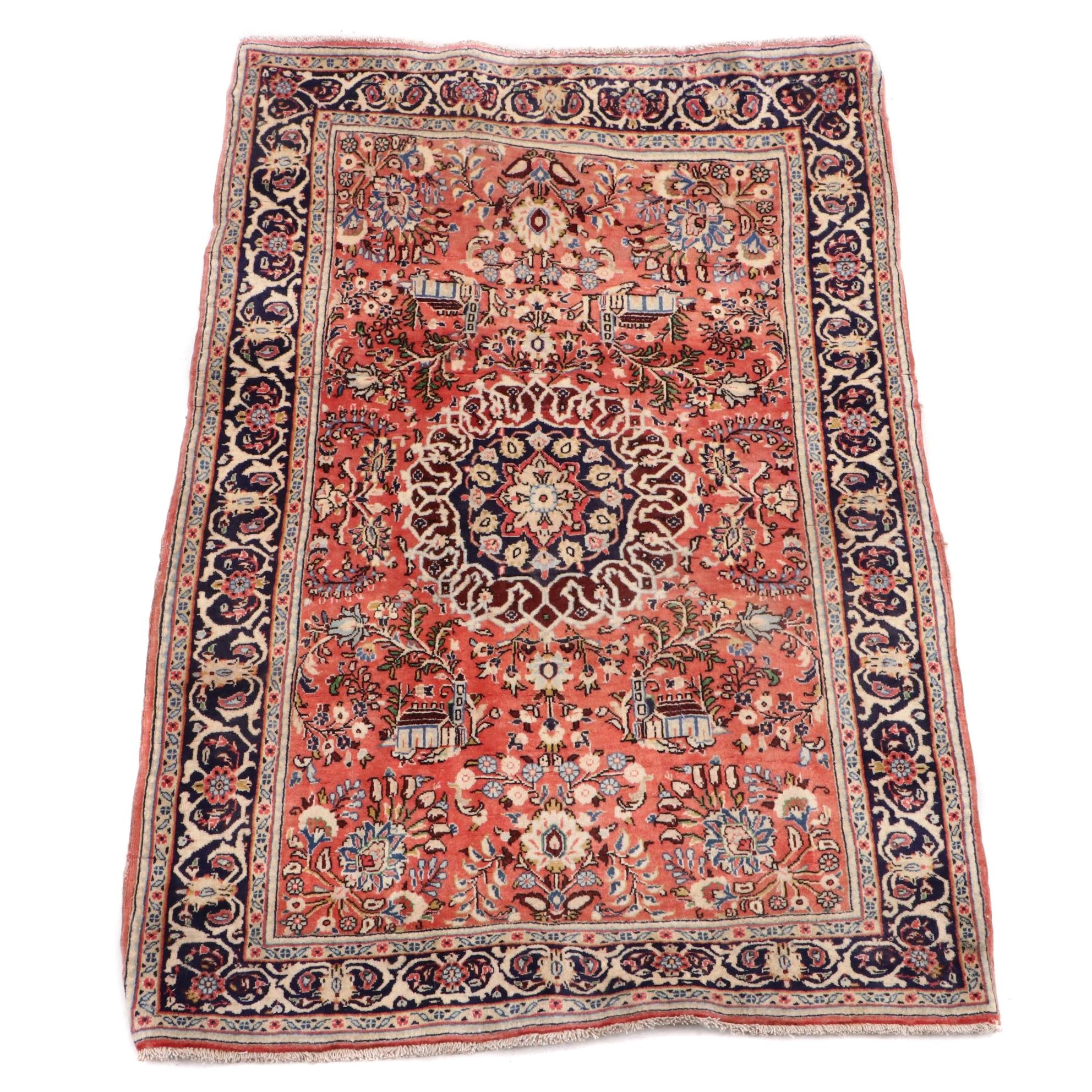 Hand-Knotted Persian Qum Rug