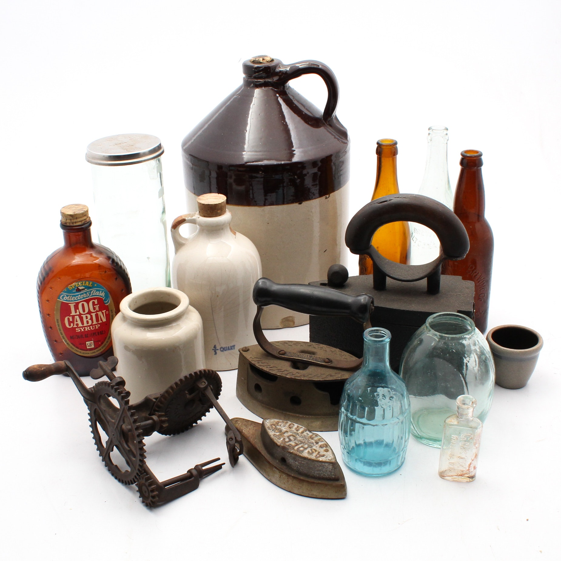 Antique and Vintage Cast Iron, Crocks and Bottles Collection
