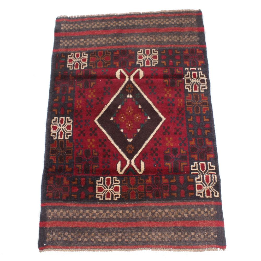 Hand-Knotted Afghani Balouch Rug, circa 1980