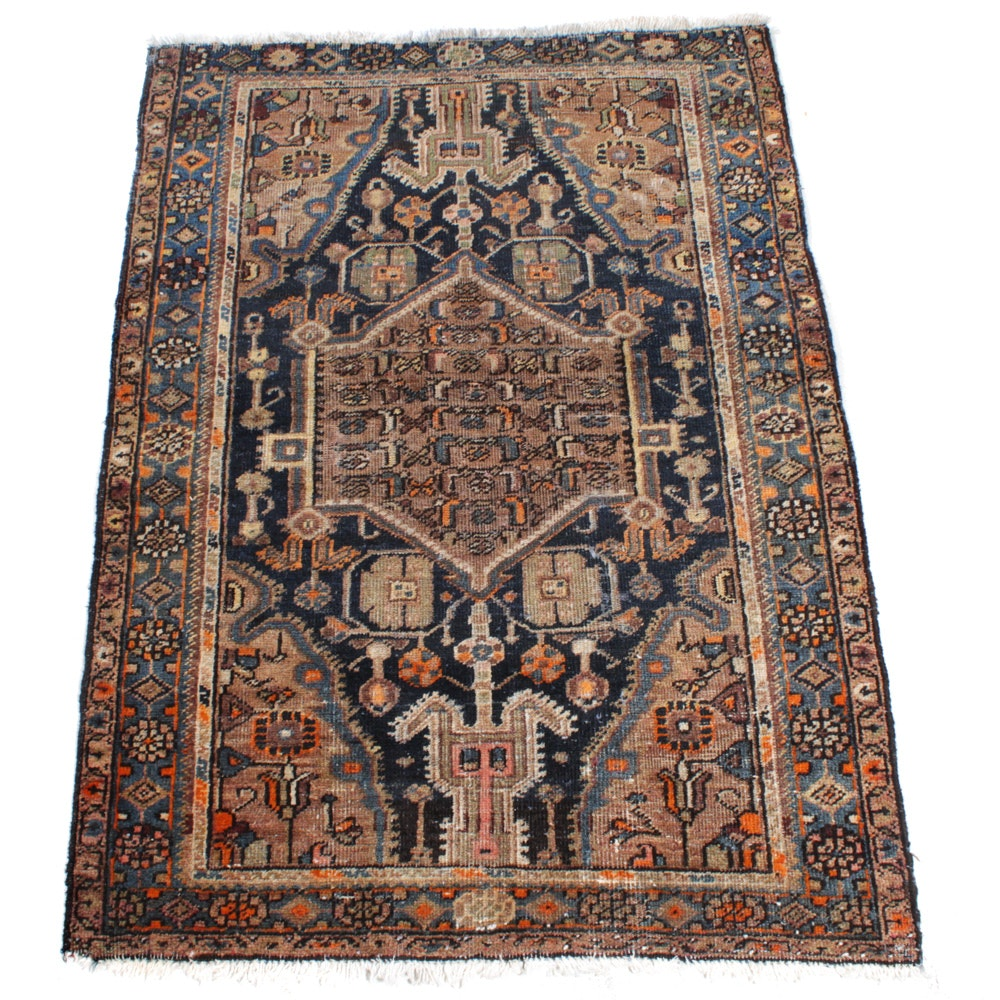 Antique Hand-Knotted Persian Heriz Rug, circa 1920