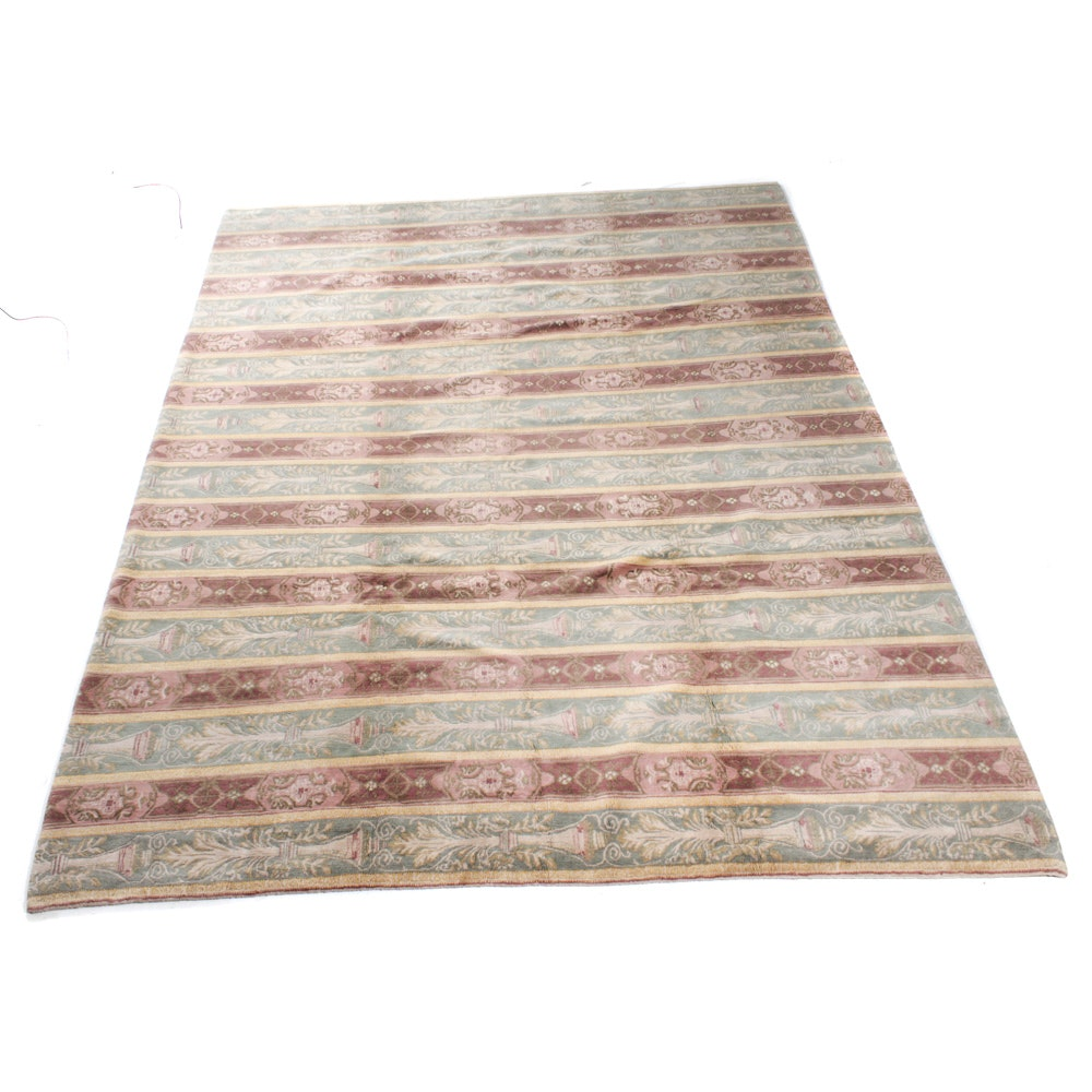 Hand-Knotted Tibetan Mid-Century Modern Style Room Sized Rug