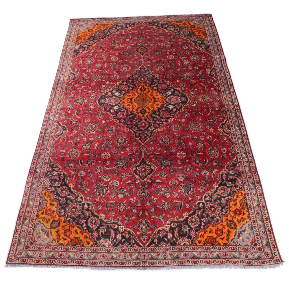 Semi-Antique Hand-Knotted Persian Kashan Rug, circa 1960