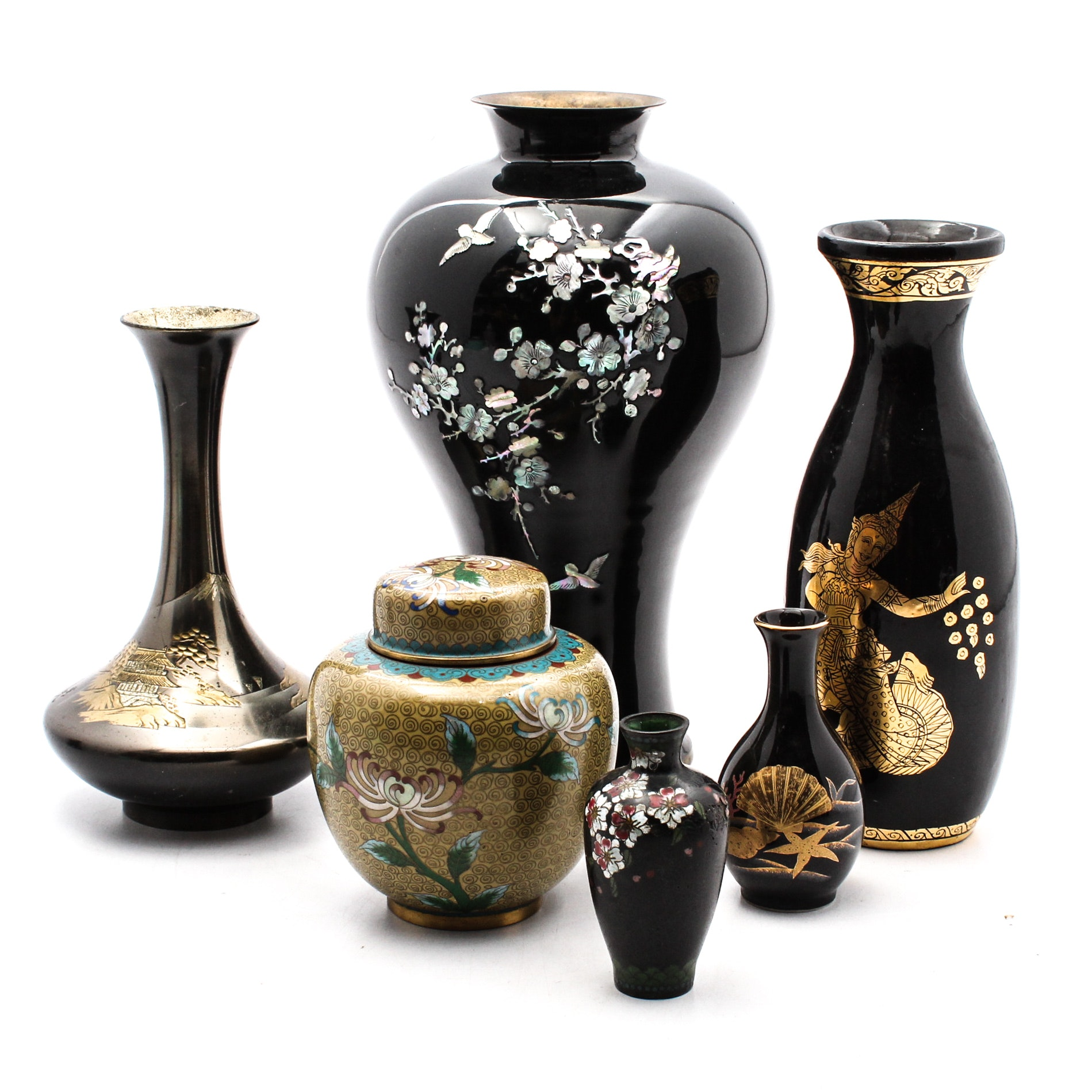 East Asian and Thai Metal Vases and Jars