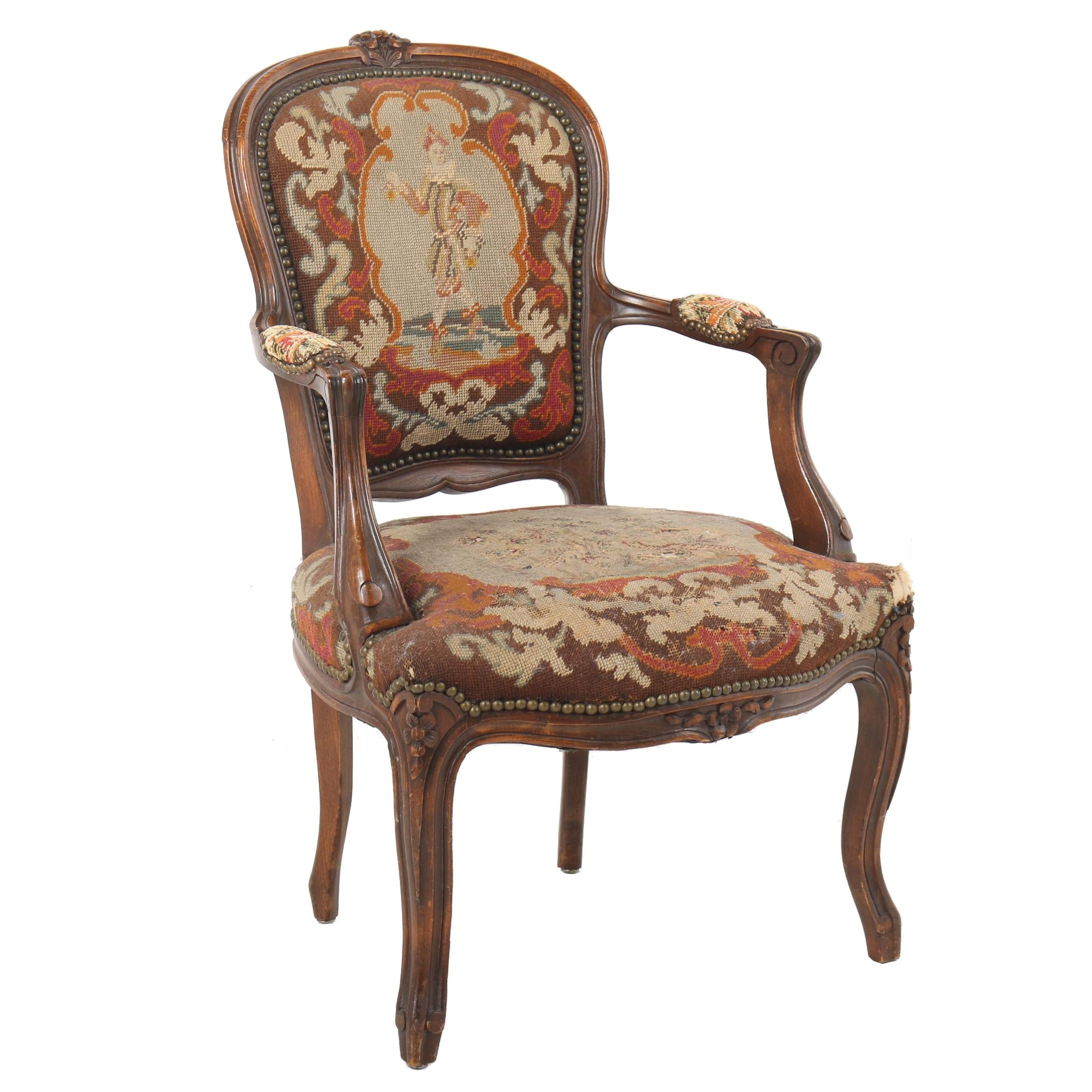 Louis XV Style Carved Wood Frame Upholstered Fauteuil, Early 20th Century