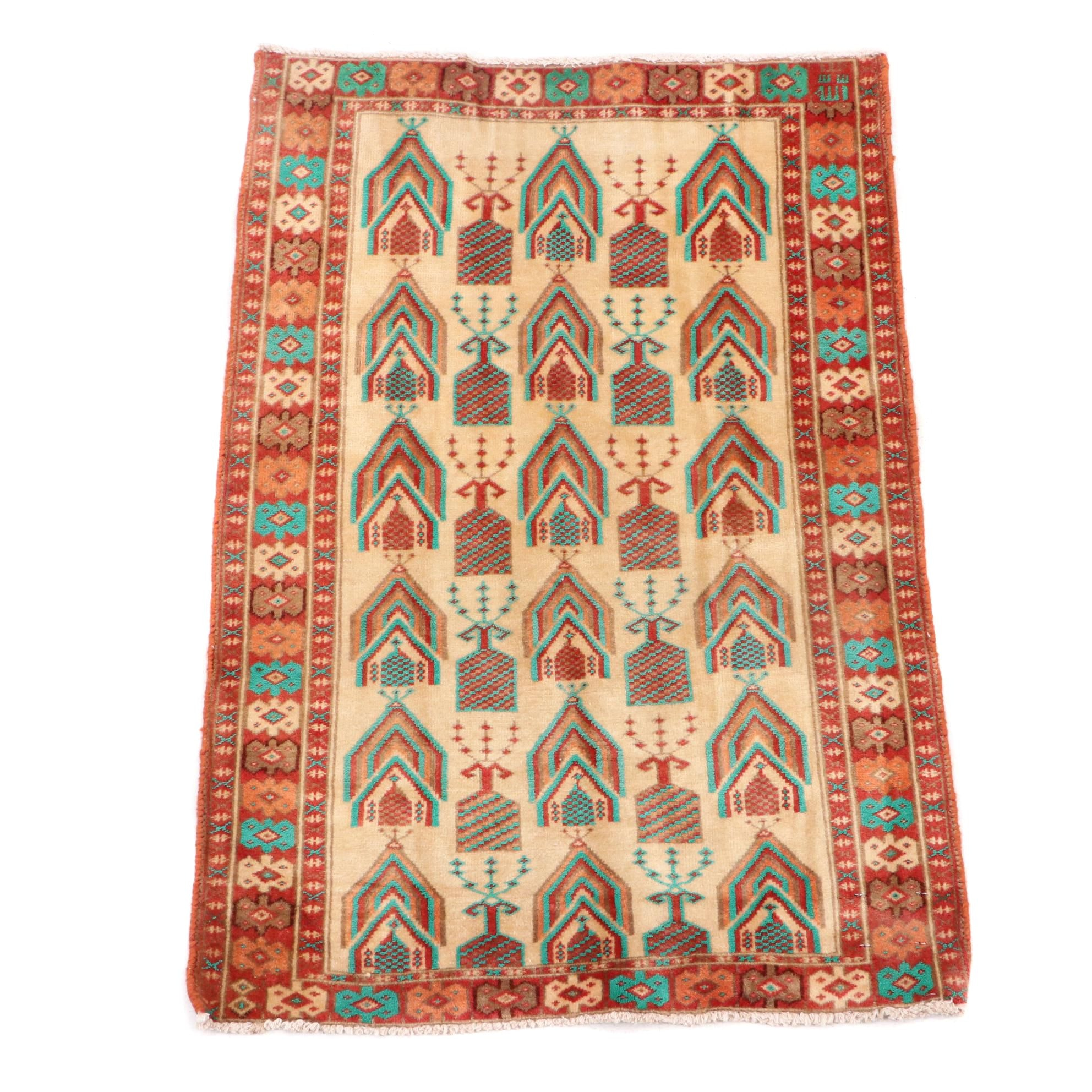 Hand-Knotted Turkmen Rug (Attributed)