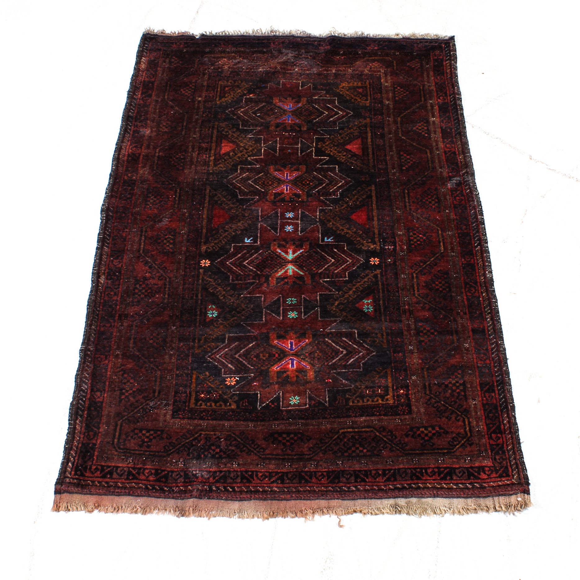 Hand-Knotted Persian Balouch Rug, circa 1900