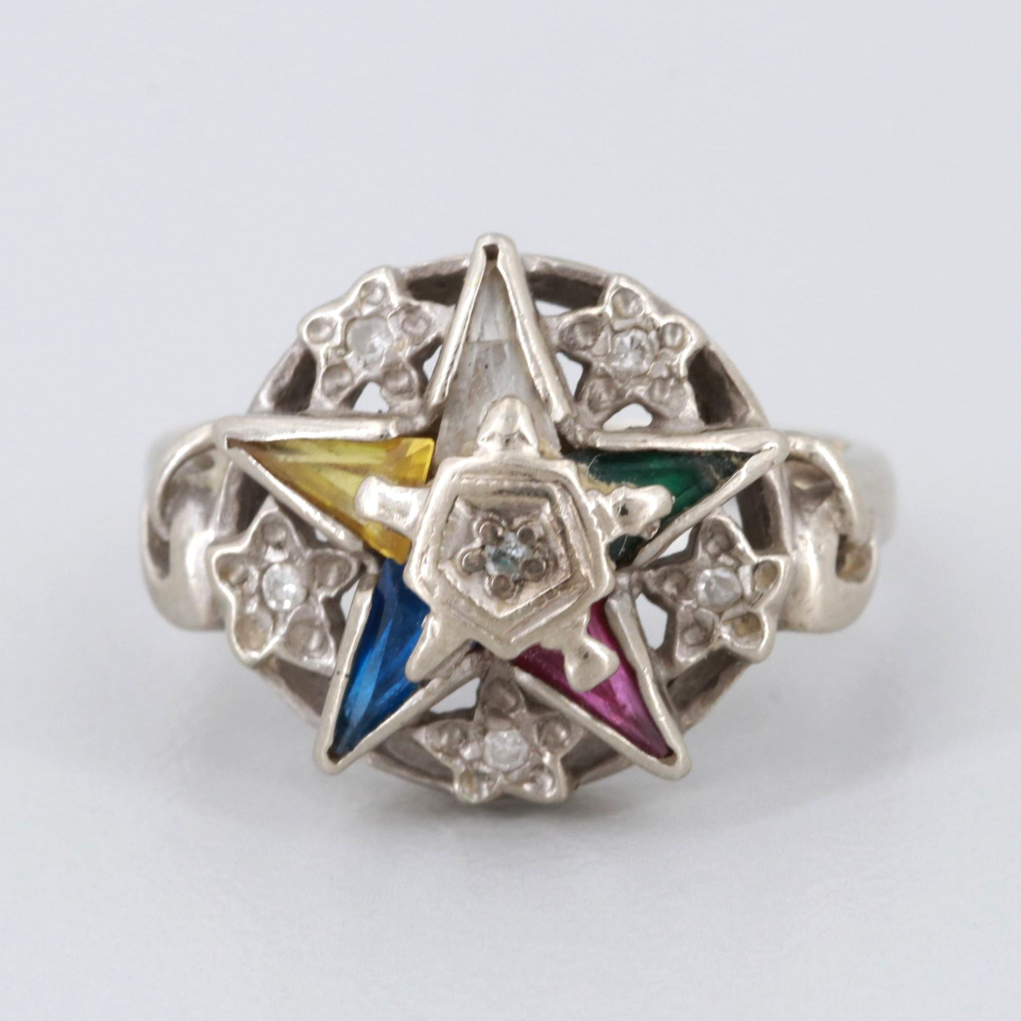 10K White Gold Diamond and Synthetic Spinel and Sapphire Eastern Star Ring